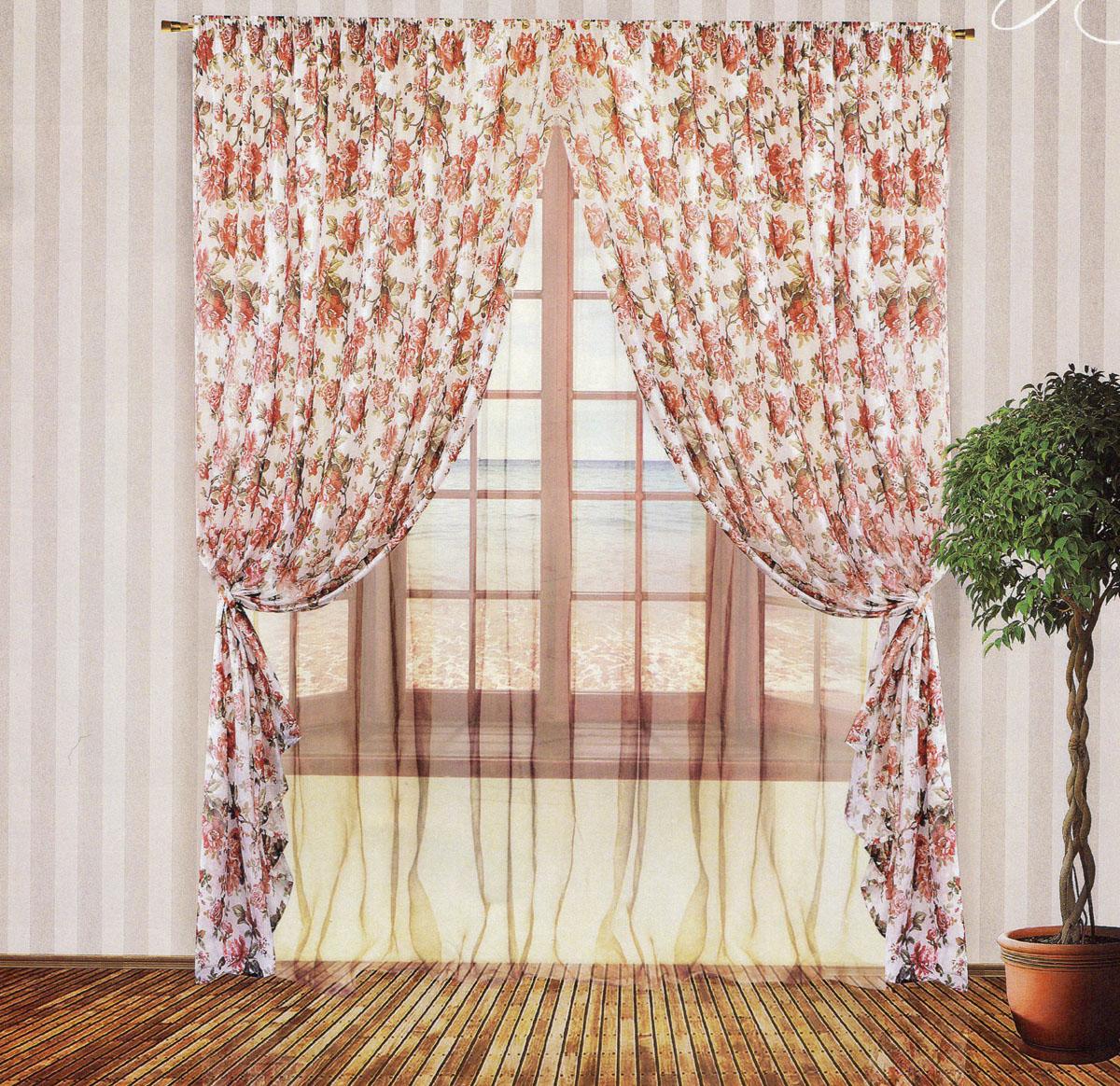 Комплект штор Zlata Korunka, на ленте, цвет: розовый, белый, высота 250 см. 5553455534Роскошный комплект тюлевых штор Zlata Korunka, выполненный из органзы и микровуали (100% полиэстера), великолепно украсит любое окно. Комплект состоит из двух штор, тюля и двух подхватов. Полупрозрачная ткань, цветочный принт и приятная, приглушенная гамма привлекут к себе внимание и органично впишутся в интерьер помещения. Комплект крепится на карниз при помощи шторной ленты, которая поможет красиво и равномерно задрапировать верх. Шторы можно зафиксировать в одном положении с помощью двух подхватов. Этот комплект будет долгое время радовать вас и вашу семью! В комплект входит: Штора: 2 шт. Размер (ШхВ): 200 см х 250 см. Тюль: 1 шт. Размер (ШхВ): 400 см х 250 см.Подхват: 2 шт. Размер (ШхВ): 60 см х 10 см.