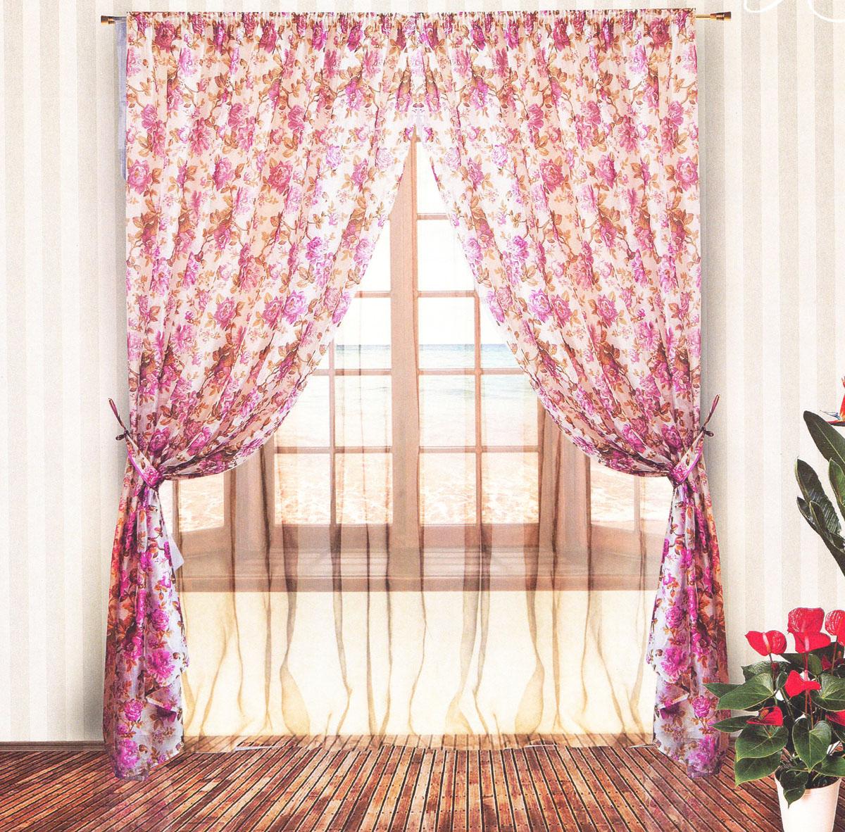 Комплект штор Zlata Korunka, на ленте, цвет: сиреневый, белый, высота 250 см. 5553555535Роскошный комплект тюлевых штор Zlata Korunka, выполненный из органзы и микровуали (100% полиэстера), великолепно украсит любое окно. Комплект состоит из двух штор, тюля и двух подхватов. Полупрозрачная ткань, цветочный принт и приятная, приглушенная гамма привлекут к себе внимание и органично впишутся в интерьер помещения. Комплект крепится на карниз при помощи шторной ленты, которая поможет красиво и равномерно задрапировать верх. Шторы можно зафиксировать в одном положении с помощью двух подхватов. Этот комплект будет долгое время радовать вас и вашу семью! В комплект входит: Штора: 2 шт. Размер (ШхВ): 200 см х 250 см. Тюль: 1 шт. Размер (ШхВ): 400 см х 250 см.Подхват: 2 шт. Размер (ШхВ): 60 см х 10 см.