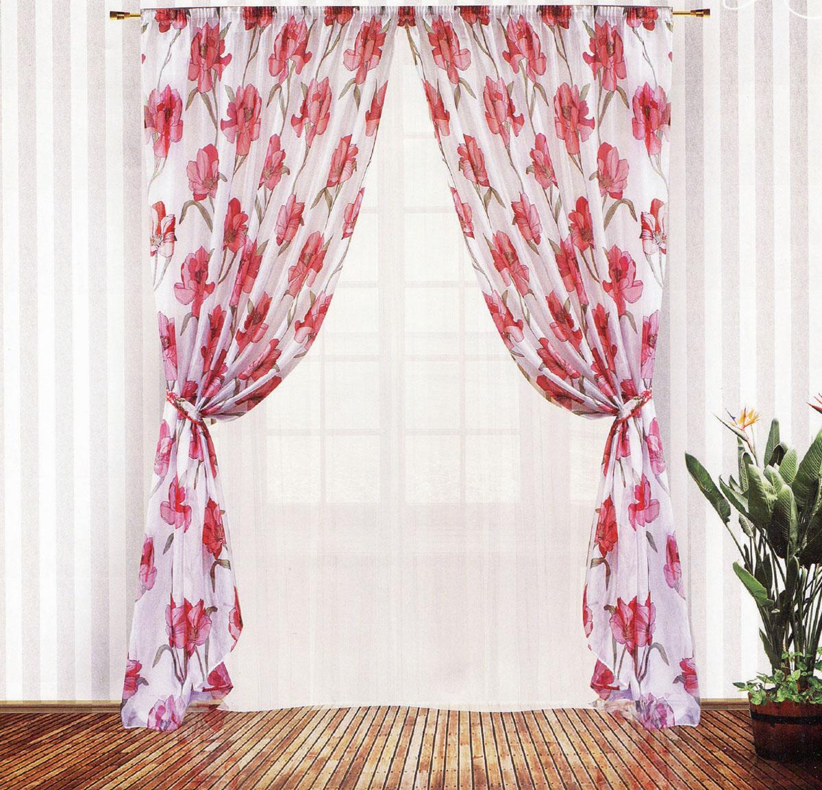 Комплект штор Zlata Korunka, на ленте, цвет: белый, красный, высота 250 см. 5554055540Роскошный комплект тюлевых штор Zlata Korunka, выполненный из вуали и микровуали (100% полиэстера), великолепно украсит любое окно. Комплект состоит из двух штор, тюля и двух подхватов. Полупрозрачная ткань, цветочный принт и приятная, приглушенная гамма привлекут к себе внимание и органично впишутся в интерьер помещения. Комплект крепится на карниз при помощи шторной ленты, которая поможет красиво и равномерно задрапировать верх. Шторы можно зафиксировать в одном положении с помощью двух подхватов. Этот комплект будет долгое время радовать вас и вашу семью! В комплект входит: Штора: 2 шт. Размер (ШхВ): 200 см х 250 см. Тюль: 1 шт. Размер (ШхВ): 400 см х 250 см.Подхват: 2 шт. Размер (ШхВ): 60 см х 10 см.