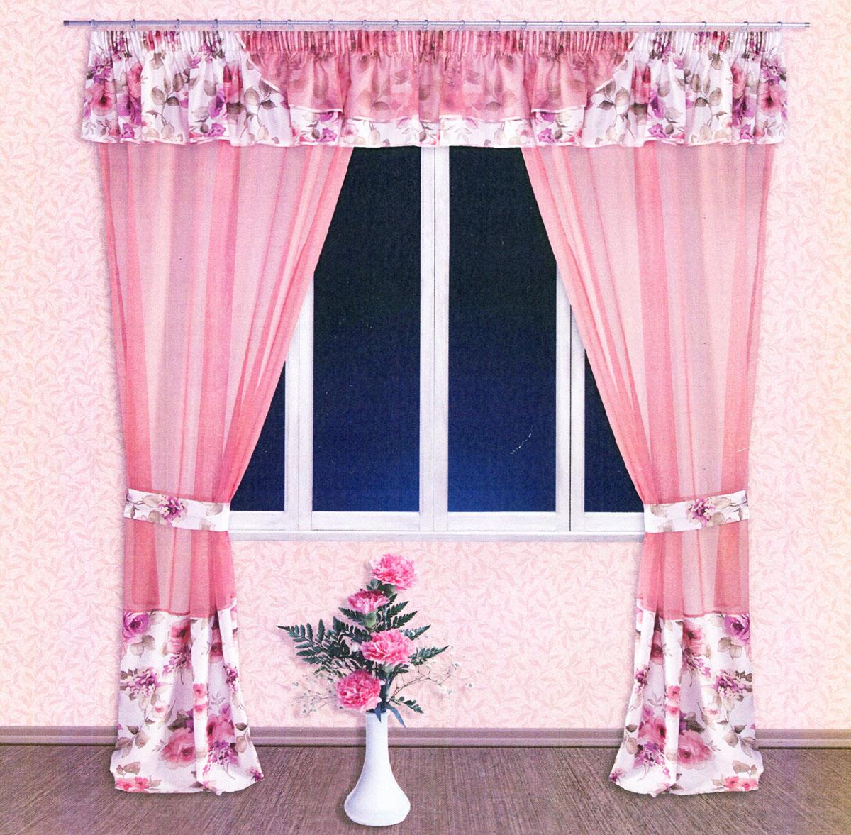 Комплект штор Zlata Korunka, на ленте, цвет: персиковый, белый, сиреневый, высота 250 см. 5552755527Роскошный комплект тюлевых штор Zlata Korunka, выполненный из вуали и сатина (100% полиэстера), великолепно украсит любое окно. Комплект состоит из двух штор, ламбрекена и двух подхватов. Полупрозрачная ткань, цветочный принт и приятная, приглушенная гамма привлекут к себе внимание и органично впишутся в интерьер помещения. Комплект крепится на карниз при помощи шторной ленты, которая поможет красиво и равномерно задрапировать верх. Шторы можно зафиксировать в одном положении с помощью двух подхватов. Этот комплект будет долгое время радовать вас и вашу семью! В комплект входит: Штора: 2 шт. Размер (ШхВ): 140 см х 250 см. Ламбрекен: 1 шт. Размер (ШхВ): 400 см х 50 см.Подхват: 2 шт. Размер (ШхВ): 60 см х 10 см.