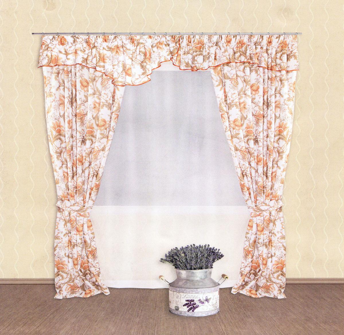 Комплект штор Zlata Korunka, на ленте, цвет: белый, светло-коричневый, высота 250 см. 5550155501Роскошный комплект штор Zlata Korunka, выполненный из сатина и вуали (100% полиэстера), великолепно украсит любое окно. Комплект состоит из двух портьер, ламбрекена, тюля и двух подхватов. Полупрозрачная ткань, цветочный принт и приятная, приглушенная гамма привлекут к себе внимание и органично впишутся в интерьер помещения. Комплект крепится на карниз при помощи шторной ленты, которая поможет красиво и равномерно задрапировать верх. Портьеры можно зафиксировать в одном положении с помощью двух подхватов. Этот комплект будет долгое время радовать вас и вашу семью! В комплект входит: Портьера: 2 шт. Размер (ШхВ): 140 см х 250 см. Ламбрекен: 1 шт. Размер (ШхВ): 400 см х 50 см.Тюль: 1 шт. Размер (ШхВ): 300 см х 250 см.Подхват: 2 шт. Размер (ШхВ): 60 см х 10 см.
