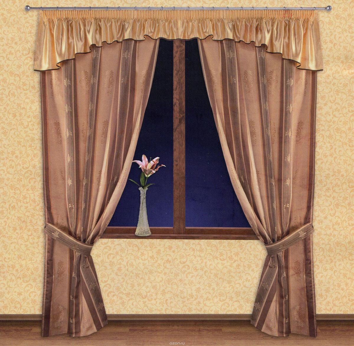 Комплект штор Zlata Korunka, на ленте, цвет: бежевый, коричневый, высота 250 см. 5551655516Роскошный комплект штор Zlata Korunka, выполненный из ткани барокко и шанзализе (100% полиэстера), великолепно украсит любое окно. Комплект состоит из двух портьер, ламбрекена и двух подхватов. Плотная ткань, оригинальный орнамент и приятная, приглушенная гамма привлекут к себе внимание и органично впишутся в интерьер помещения. Комплект крепится на карниз при помощи шторной ленты, которая поможет красиво и равномерно задрапировать верх. Портьеры можно зафиксировать в одном положении с помощью двух подхватов. Этот комплект будет долгое время радовать вас и вашу семью! В комплект входит: Портьера: 2 шт. Размер (ШхВ): 140 см х 250 см. Ламбрекен: 1 шт. Размер (ШхВ): 400 см х 50 см.Подхват: 2 шт. Размер (ШхВ): 60 см х 10 см.
