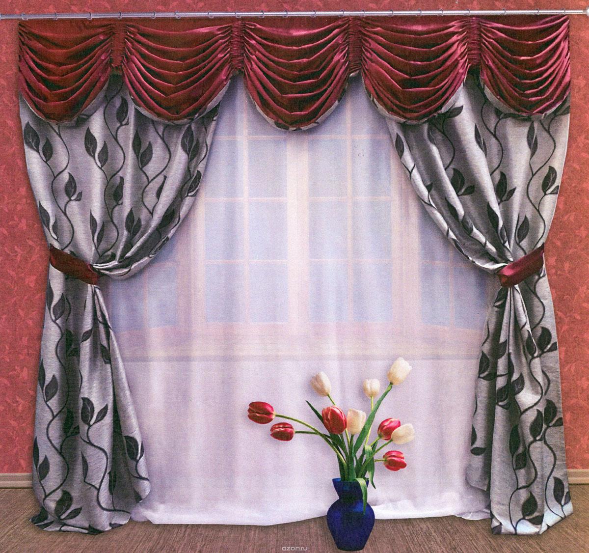 Комплект штор Zlata Korunka, на ленте, цвет: серый, бордовый, высота 250 см. 5550855508Роскошный комплект штор Zlata Korunka, выполненный из ткани сатин санрайз и шанзализе (100% полиэстера), великолепно украсит любое окно. Комплект состоит из двух портьер, ламбрекена и двух подхватов. Плотная ткань, изображение листьев и приятная, приглушенная гамма привлекут к себе внимание и органично впишутся в интерьер помещения. Комплект крепится на карниз при помощи шторной ленты, которая поможет красиво и равномерно задрапировать верх. Портьеры можно зафиксировать в одном положении с помощью двух подхватов. Этот комплект будет долгое время радовать вас и вашу семью! В комплект входит: Портьера: 2 шт. Размер (ШхВ): 145 см х 250 см. Ламбрекен: 1 шт. Размер (ШхВ): 300 см х 50 см.Подхват: 2 шт. Размер (ШхВ): 60 см х 10 см.
