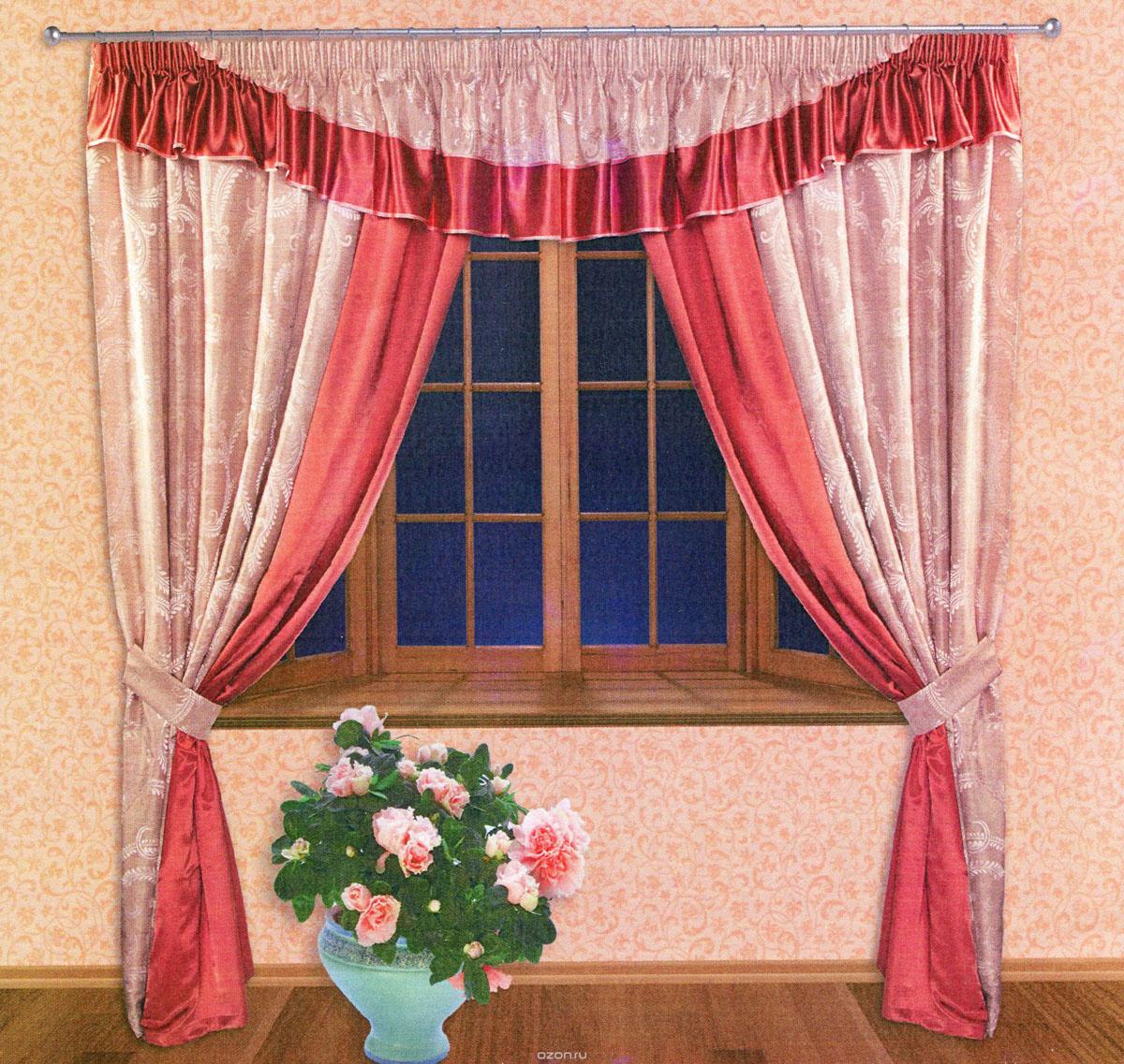 Комплект штор Zlata Korunka, на ленте, цвет: красный, бледно-розовый, высота 250 см. 5551055510Роскошный комплект штор Zlata Korunka, выполненный из ткани шанзализе и сатина (100% полиэстера), великолепно украсит любое окно. Комплект состоит из двух портьер, ламбрекена и двух подхватов. Плотная ткань, оригинальный орнамент и приятная, приглушенная гамма привлекут к себе внимание и органично впишутся в интерьер помещения. Комплект крепится на карниз при помощи шторной ленты, которая поможет красиво и равномерно задрапировать верх. Портьеры можно зафиксировать в одном положении с помощью двух подхватов. Этот комплект будет долгое время радовать вас и вашу семью! В комплект входит: Портьера: 2 шт. Размер (ШхВ): 210 см х 250 см. Ламбрекен: 1 шт. Размер (ШхВ): 450 см х 50 см.Подхват: 2 шт. Размер (ШхВ): 60 см х 10 см.
