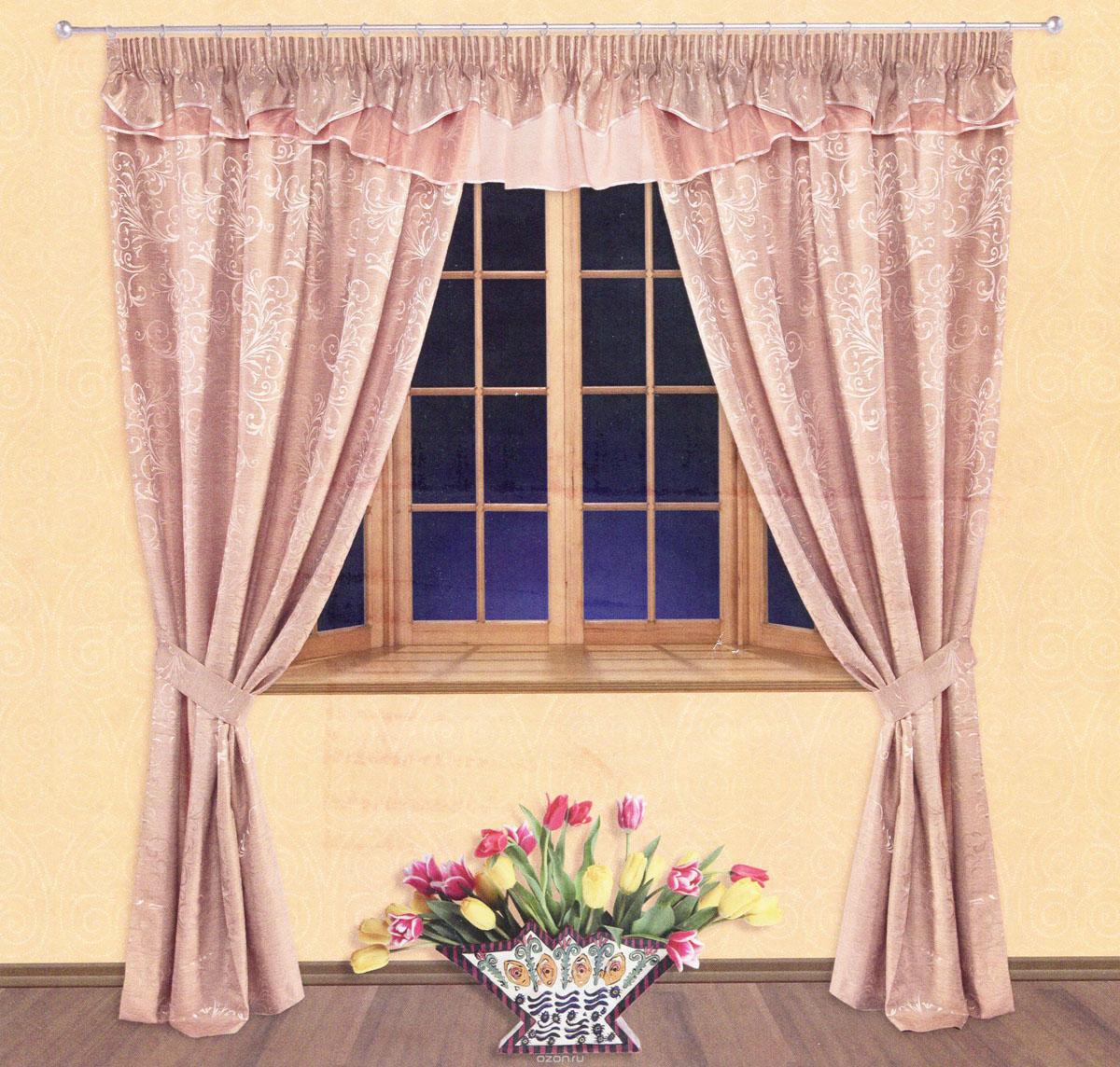 Комплект штор Zlata Korunka, на ленте, цвет: бледно-розовый, высота 250 см. 5552655526Роскошный комплект штор Zlata Korunka, выполненный из сатина, жаккарда и вуали (100% полиэстера), великолепно украсит любое окно. Комплект состоит из двух портьер, ламбрекена и двух подхватов. Сочетание плотной и полупрозрачной тонкой ткани, оригинальный орнамент и приятная, приглушенная гамма привлекут к себе внимание и органично впишутся в интерьер помещения. Комплект крепится на карниз при помощи шторной ленты, которая поможет красиво и равномерно задрапировать верх. Портьеры можно зафиксировать в одном положении с помощью двух подхватов. Этот комплект будет долгое время радовать вас и вашу семью! В комплект входит: Портьера: 2 шт. Размер (ШхВ): 140 см х 250 см. Ламбрекен: 1 шт. Размер (ШхВ): 400 см х 50 см.Подхват: 2 шт. Размер (ШхВ): 60 см х 10 см.
