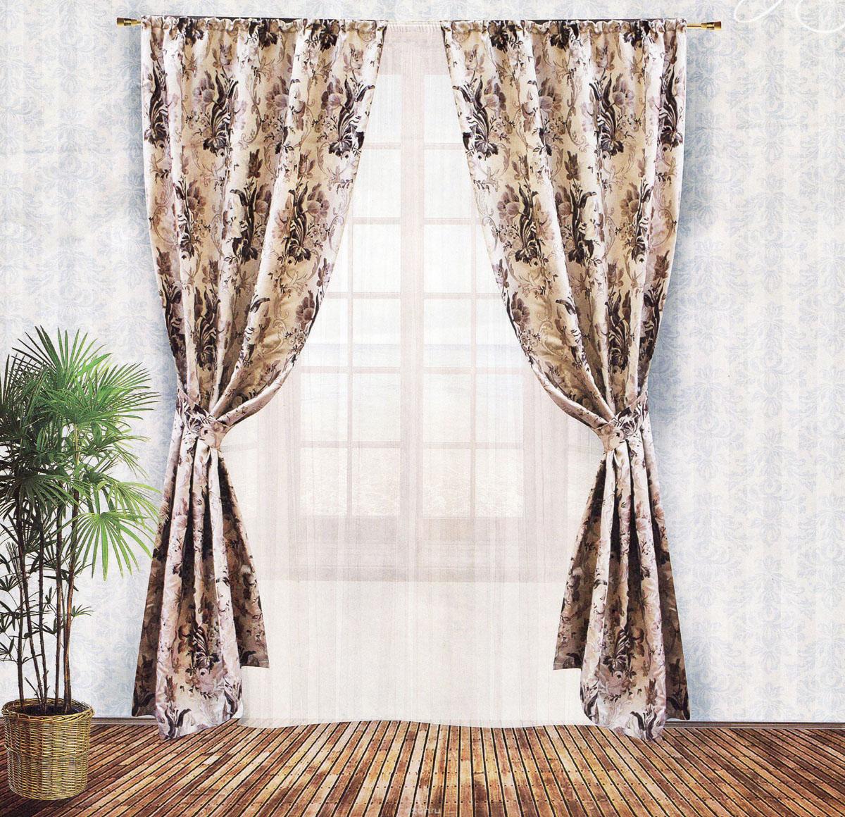 Комплект штор Zlata Korunka, на ленте, цвет: бежевый, высота 250 см. 5553655536Роскошный комплект штор Zlata Korunka, выполненный из гобелена (100% полиэстера), великолепно украсит любое окно. Комплект состоит из двух портьер и двух подхватов. Плотная ткань, цветочный принт и приятная, приглушенная гамма привлекут к себе внимание и органично впишутся в интерьер помещения. Комплект крепится на карниз при помощи шторной ленты, которая поможет красиво и равномерно задрапировать верх. Портьеры можно зафиксировать в одном положении с помощью двух подхватов. Этот комплект будет долгое время радовать вас и вашу семью! В комплект входит: Портьера: 2 шт. Размер (ШхВ): 140 см х 250 см. Подхват: 2 шт. Размер (ШхВ): 60 см х 10 см.