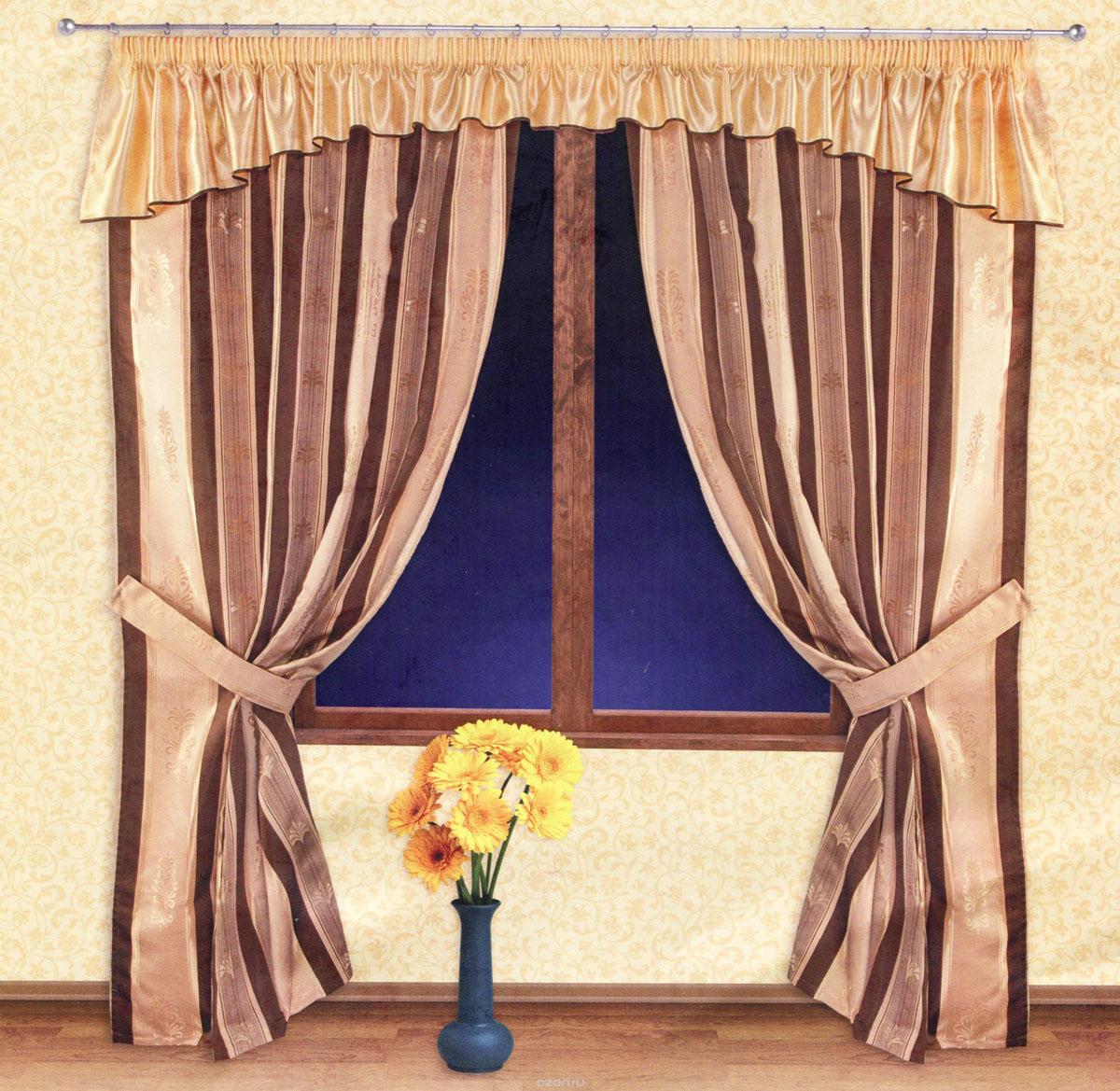 Комплект штор Zlata Korunka, на ленте, цвет: золотистый, шоколадный, высота 250 см. 5551755517Роскошный комплект штор Zlata Korunka, выполненный из ткани барокко и шанзализе (100% полиэстера), великолепно украсит любое окно. Комплект состоит из двух портьер, ламбрекена и двух подхватов. Плотная ткань, оригинальный орнамент и приятная, приглушенная гамма привлекут к себе внимание и органично впишутся в интерьер помещения. Комплект крепится на карниз при помощи шторной ленты, которая поможет красиво и равномерно задрапировать верх. Портьеры можно зафиксировать в одном положении с помощью двух подхватов. Этот комплект будет долгое время радовать вас и вашу семью! В комплект входит: Портьера: 2 шт. Размер (ШхВ): 140 см х 250 см. Ламбрекен: 1 шт. Размер (ШхВ): 400 см х 50 см.Подхват: 2 шт. Размер (ШхВ): 60 см х 10 см.