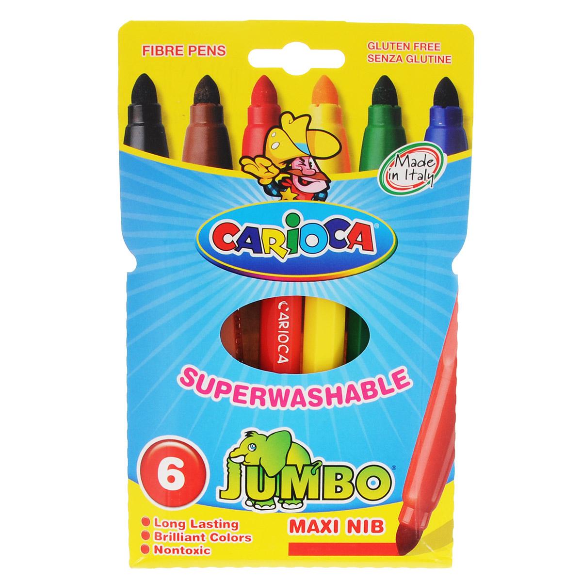 Universal Набор фломастеров Carioca Jumbo 6 цветов40568/06Набор фломастеров Universal Carioca Jumbo понравится вашего малышу!Даже самый маленький художник сможет создать свои первые шедевры с набором из 6 фломастеров Universal Carioca Jumbo. Фломастеры выполнены в увеличенном размере - MAXI. Благодаря такому корпусу, ребенку удобно держать фломастер в руке.В этих детских фломастерах используются специальные чернила на водной основе, которые прекрасно смываются с кожи и с большинства тканей. Чернила не токсичны и безопасны для ребенка. Уважаемые клиенты!Обращаем ваше внимание на возможные изменения в дизайне упаковки. Качественные характеристики товара остаются неизменными. Поставка осуществляется в зависимости от наличия на складе.