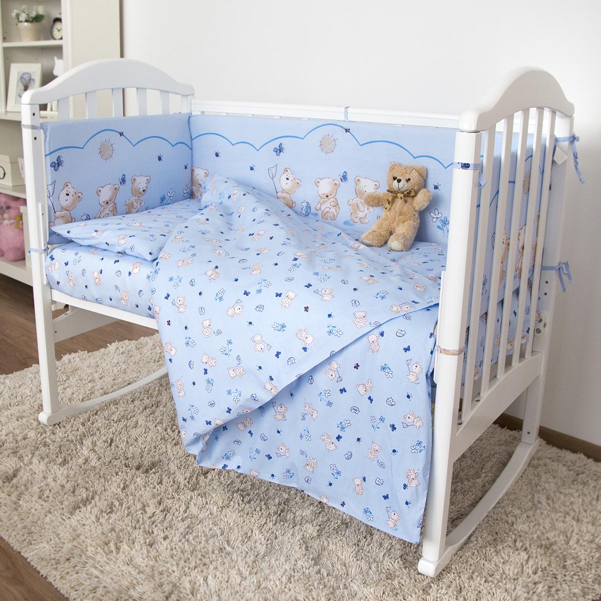 Baby Nice Детский комплект в кроватку Мишки (КПБ, бязь, наволочка 40х60), цвет: голубойН613-05Комплект в кроватку Baby Nice Мишки для самых маленьких изготовлен только из самой качественной ткани, самой безопасной и гигиеничной, самой экологичной и гипоаллергенной. Отлично подходит для кроваток малышей, которые часто двигаются во сне. Хлопковое волокно прекрасно переносит стирку, быстро сохнет и не требует особого ухода, не линяет и не вытягивается. Ткань прошла специальную обработку по умягчению, что сделало её невероятно мягкой и приятной к телу. Комплект создаст дополнительный комфорт и уют ребенку. Родителям не составит особого труда ухаживать за комплектом. Он превосходно стирается, легко гладится. Ваш малыш будет в восторге от такого необыкновенного постельного набора! В комплект входит: одеяло, пододеяльник, подушка, наволочка, простынь, 4 борта.