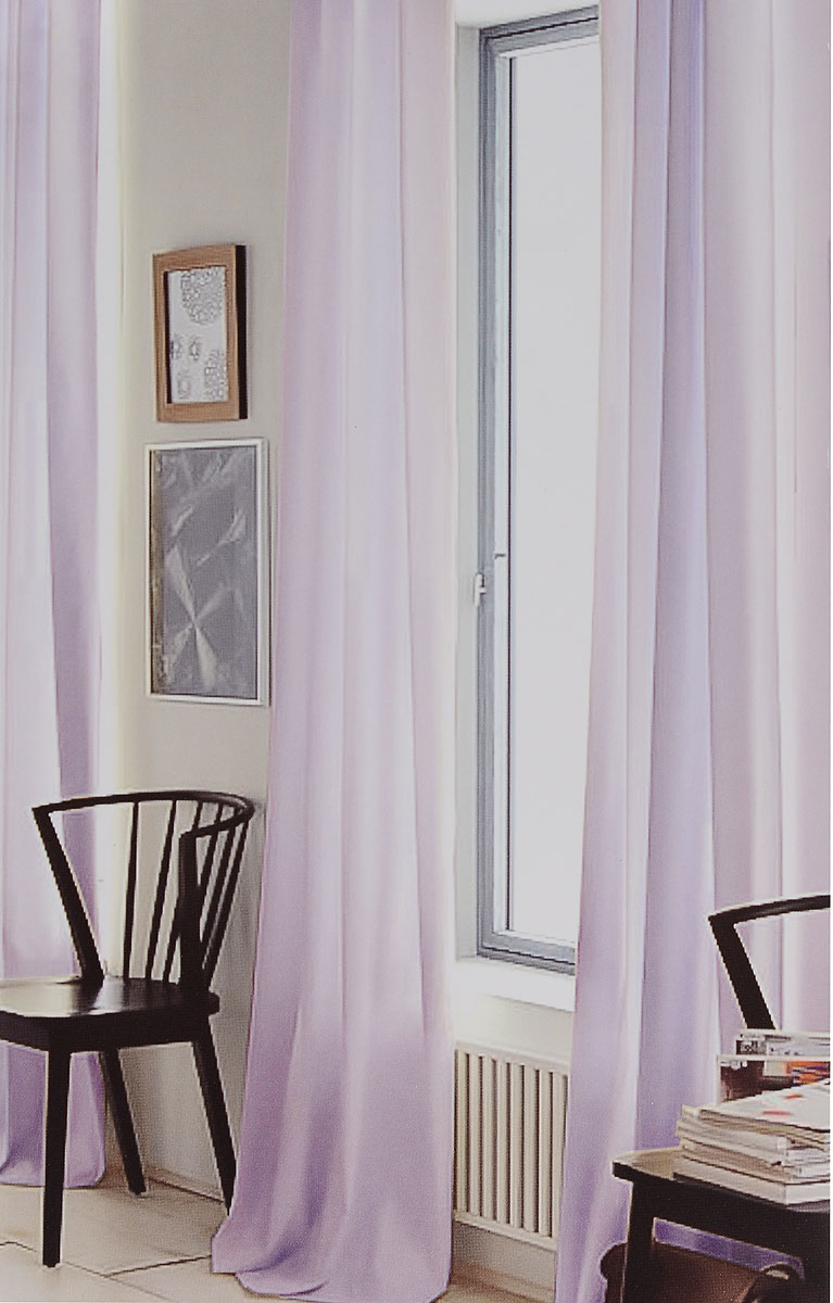 Штора готовая для гостиной Garden, на ленте, цвет: сиреневый, размер 300*260 см. CW191 V76008CW191 V76008Изящная тюлевая штора Garden выполнена из вуали (100% полиэстера). Полупрозрачная ткань, приятный цвет привлекут к себе внимание и органично впишутся в интерьер помещения. Такая штора идеально подходит для солнечных комнат. Мягко рассеивая прямые лучи, она хорошо пропускает дневной свет и защищает от посторонних глаз. Отличное решение для многослойного оформления окон. Штора крепится на карниз при помощи ленты, которая поможет красиво и равномерно задрапировать верх.