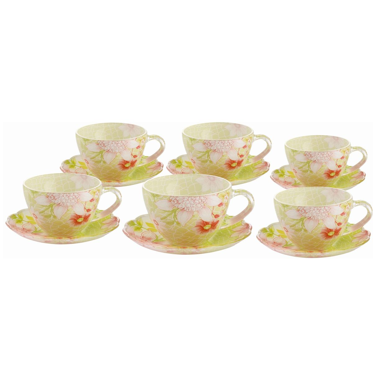 Набор чайный BK-5849 12прBK-584912пр.: чашка - 6шт. (200мл), блюдце - 6шт. (13,5см). Подарочнаяупаковка. Состав: стекло.