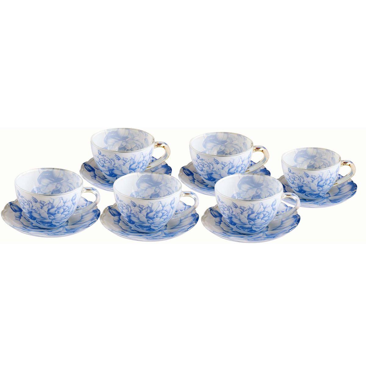"""Чайный набор """"Bekker"""" состоит из 6 чашек и 6 блюдец, выполненных из  высококачественного стекла с цветочным дизайном. Несмотря на свою  внешнюю хрупкость, каждый из предметов набора обладает  высокой прочностью и надежностью.    Такой чайный набор станет украшением стола, а  процесс чаепития превратится в одно удовольствие! А также его можно преподнести в качестве  оригинального и практичного подарка для родных и близких.  Объем чашки: 200 мл.    Диаметр блюдца: 13,5 см."""