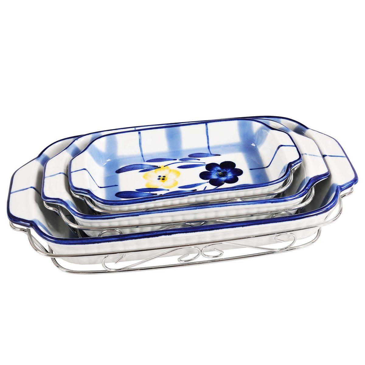 Набор форм для запекания Bekker, с подставками, 6 предметовBK-7308Набор Bekker состоит из 3 форм для запекания, выполненных из высококачественной жаропрочной керамики. Изделия имеют глазурованное покрытие, которое защищает поверхность от истирания и облегчает чистку. Формы для запекания Bekker прекрасно подойдут для запекания овощей, мяса и других блюд, а оригинальный дизайн и яркое оформление украсят ваш стол.В комплект входя также 3 металлические подставки.Размер форм: 21 х 11 х 3 см; 25,5 х 14 х 3,5 см; 31 х 16 х 4,5 см.