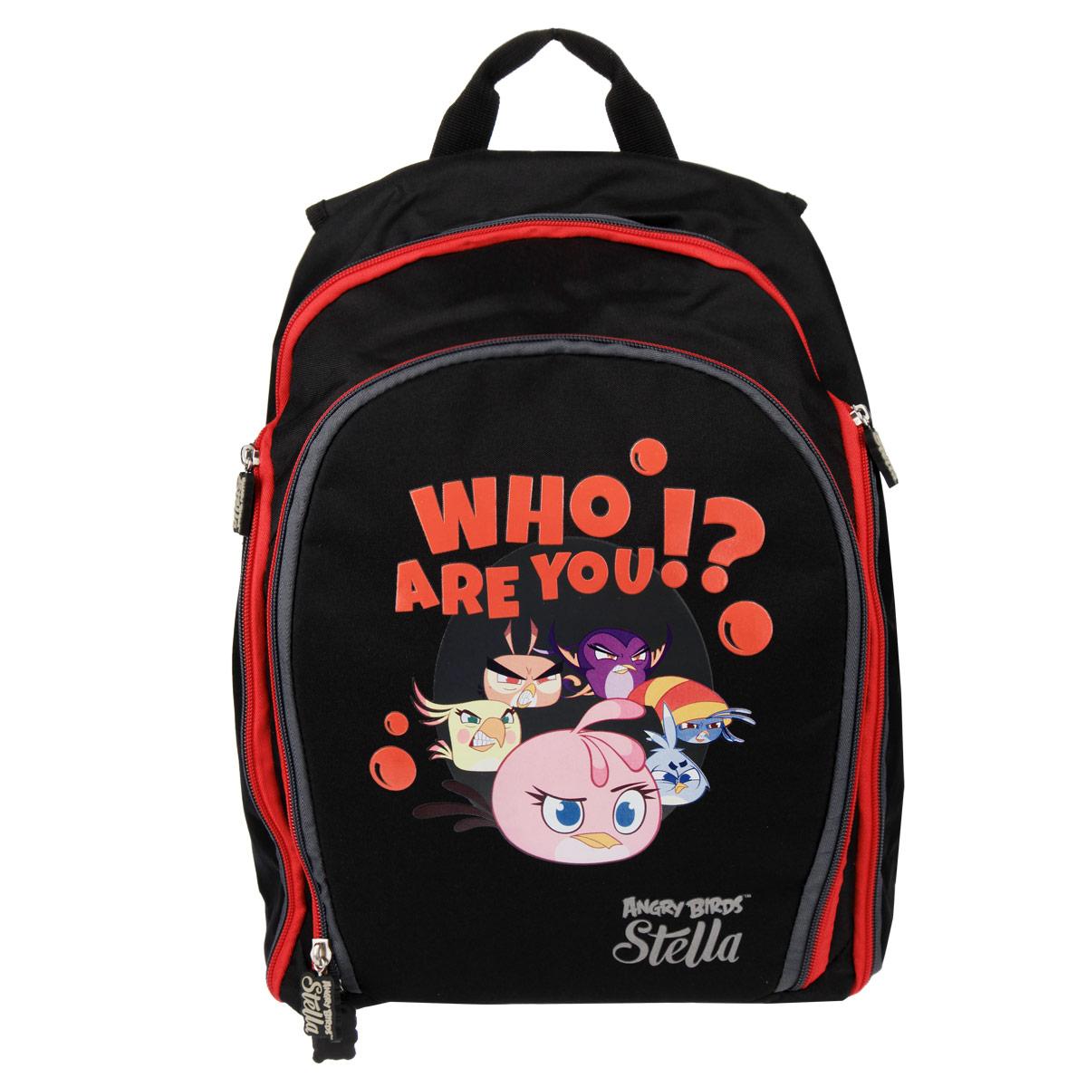 Рюкзак Action! Angry Birds Stella, цвет: черный, красный, серыйSA-AB11094/1Стильный рюкзак Action! Angry Birds Stella - это красивый и удобный рюкзак, который подойдетвсем, кто хочет разнообразить свои будни. Рюкзак выполнен из текстиля и оформлен аппликациями известных всем героев из игры Angry Birds. Изделие оснащено двумя отделениями, закрывающимся на застежки-молнии. Одно из отделений оснащено сетчатым карманом на резинке и пятью накладными карманами для принадлежностей. По бокам рюкзака расположены карманы на застежках-молниях с сетчатыми вставками внутри. Благодаря уплотненной простроченной спинке и мягким плечевым ремням, регулирующимся по длине, у вас не возникнет проблем с позвоночником. Также рюкзак оснащен текстильной ручкой, для удобной переноски.Гарантия: 30 дней.