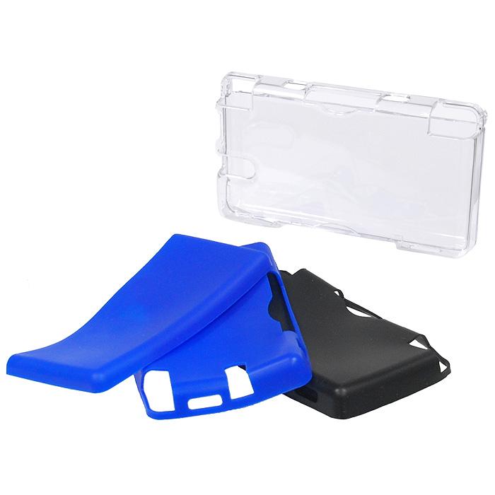 Пластиковый корпус Black Horns с двумя комплектами силиконовых вкладышей для DS Lite (синий, черный)