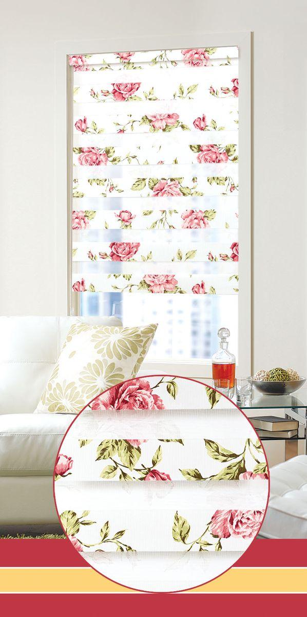 """Мини ролло Garden """"День-ночь"""" изготовлены из высокопрочной плотной ткани и украшены изображением мелких красных цветов. Ткань не выцветает, обладает отличной цветоустойчивостью и сохраняет свой размер даже при намокании.  Мини-ролло - это подвид рулонных штор, который закрывает не весь оконный проем, а непосредственно само стекло. Крепление универсальное, шторы крепятся либо скобами на раму, либо на крепление с двусторонним скотчем.  Мини ролло Garden """"День-ночь"""" - это отличное решение для тех, кто не хочет утяжелять помещение тканевыми шторами. Они не только открывают пространство, но и легко регулируют подачу света в помещении, сдвигая полоски относительно друг друга. Происходит это с помощью шнура-цепочки.  В комплект входит:  - 2 крепления, - 2 самореза, - 2 дюбеля, - шнур-цепочка, - мини-ролло."""