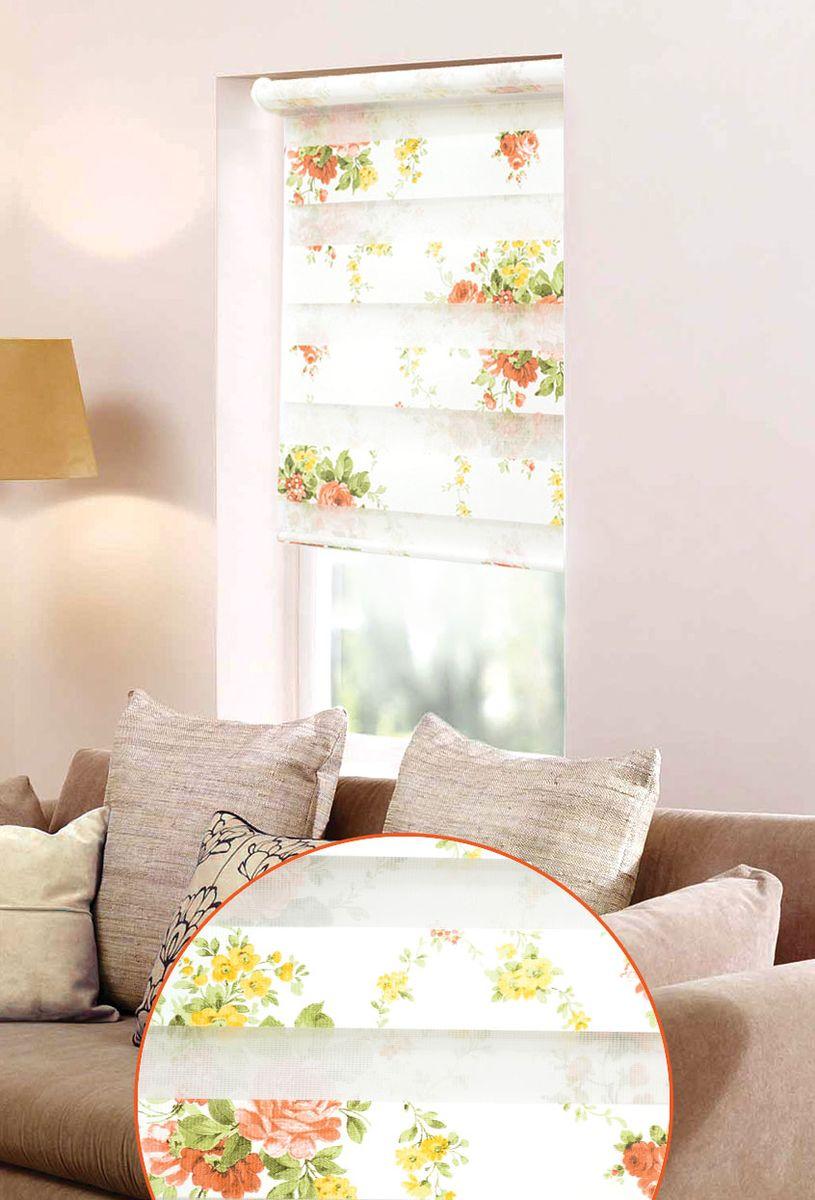 """Мини ролло Garden """"День-ночь"""" изготовлены из высокопрочной плотной ткани и украшены изображением желтых и белых цветов. Ткань не выцветает, обладает отличной цветоустойчивостью и сохраняет свой размер даже при намокании. Мини-ролло - это подвид рулонных штор, который закрывает не весь оконный проем, а непосредственно само стекло. Крепление универсальное, шторы крепятся либо скобами на раму, либо на крепление с двусторонним скотчем. Мини ролло Garden """"День-ночь"""" - это отличное решение для тех, кто не хочет утяжелять помещение тканевыми шторами. Они не только открывают пространство, но и легко регулируют подачу света в помещении, сдвигая полоски относительно друг друга. Происходит это с помощью шнура-цепочки. В комплект входит: - 2 крепления,- 2 самореза,- 2 дюбеля,- шнур-цепочка,- мини-ролло."""