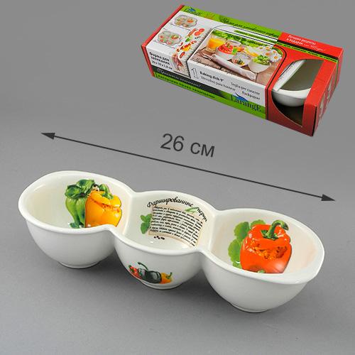Форма для запекания LarangE Фаршированные перцы, 26 x 10 x 5,8 см598-090Форма для запекания LarangE выполнена из высококачественного фарфора, порадует вас изящным дизайном и практичностью. Стенки формы декорированы надписью Фаршированные перцы и изображением этого блюда. Кроме того, для упрощения процесса приготовления на стенках написан рецепт блюда и изображены необходимые продукты. Такая посуда украсит ваш праздничный или обеденный стол, а оригинальное исполнение понравится любой хозяйке.Размер формы: 26 x 10 x 5,8 см.