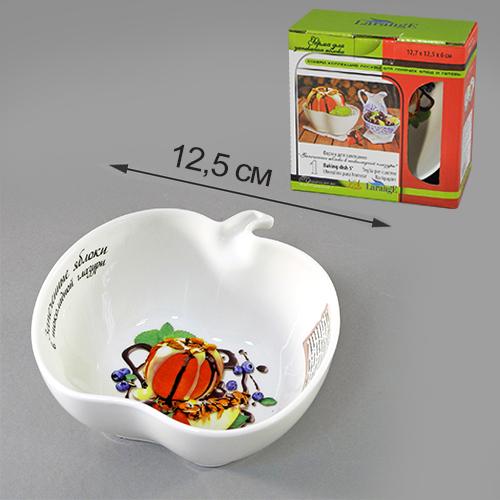 """Форма для запекания LarangE """"Яблоки в шоколадной глазури"""", выполненная из высококачественного фарфора, подходит для использования в духовке. Во время  процесса приготовления посуда из впитывает лишнюю влагу из продукта и хранит тепло.Подходит для хранения в холодильнике и морозильной камере.  Можно мыть в посудомоечной машине. Размер (по верхнему краю): 12,7 х 12,5 см. Высота: 6 см."""