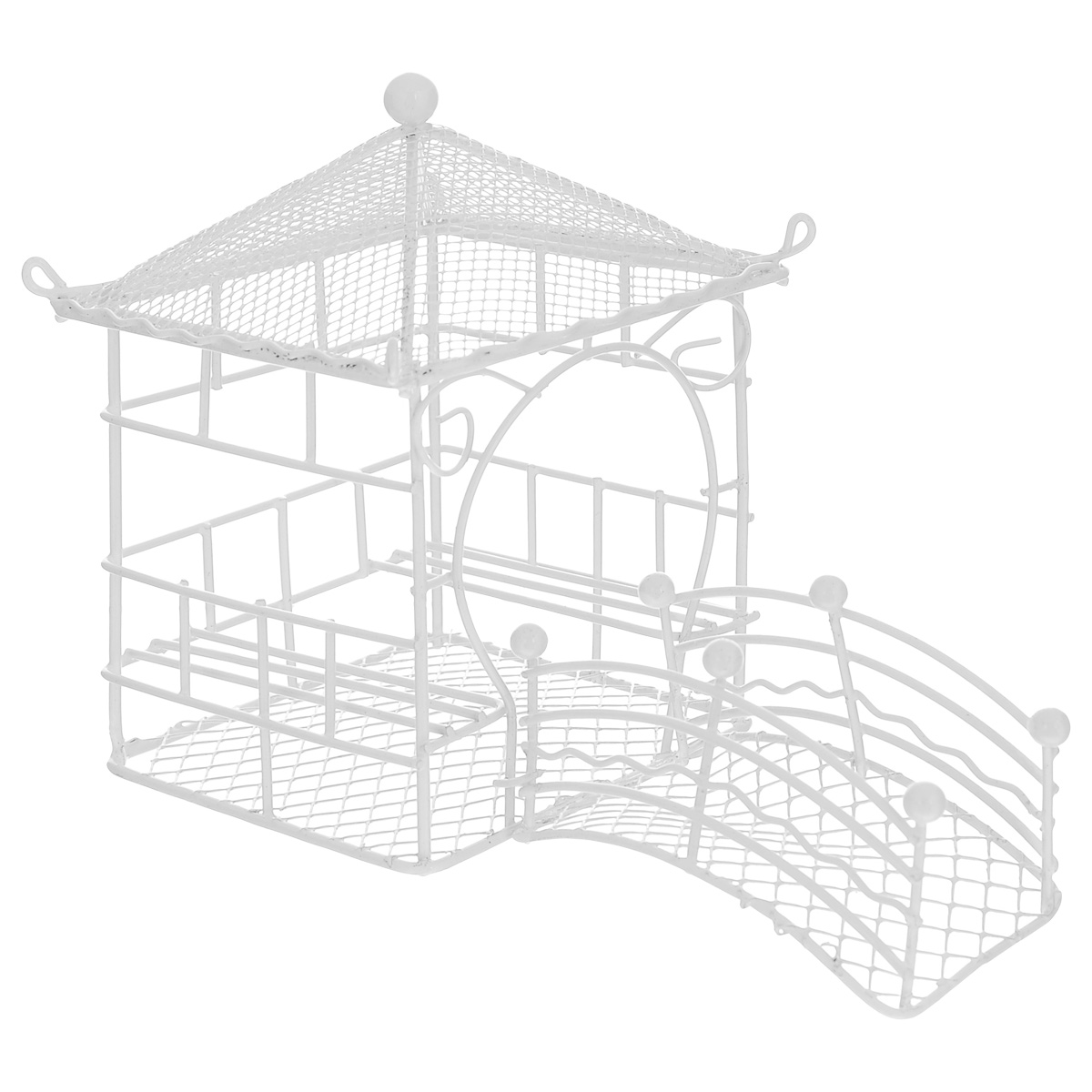 Беседка декоративная ScrapBerrys с мостиком, цвет: белый, 16 см х 9,5 см х 12 смSCB271002Декоративная беседка ScrapBerrys изготовлена из высококачественного металла. Изделие оснащено мостиком и украшено изящными коваными завитушками. Такая беседка предназначена для скрапбукинга (для флористики), также она подойдет для декора интерьера дома или офиса. Кроме того - это отличный вариант подарка для ваших близких и друзей. Размер беседки: 16 см х 9,5 см х 12 см.