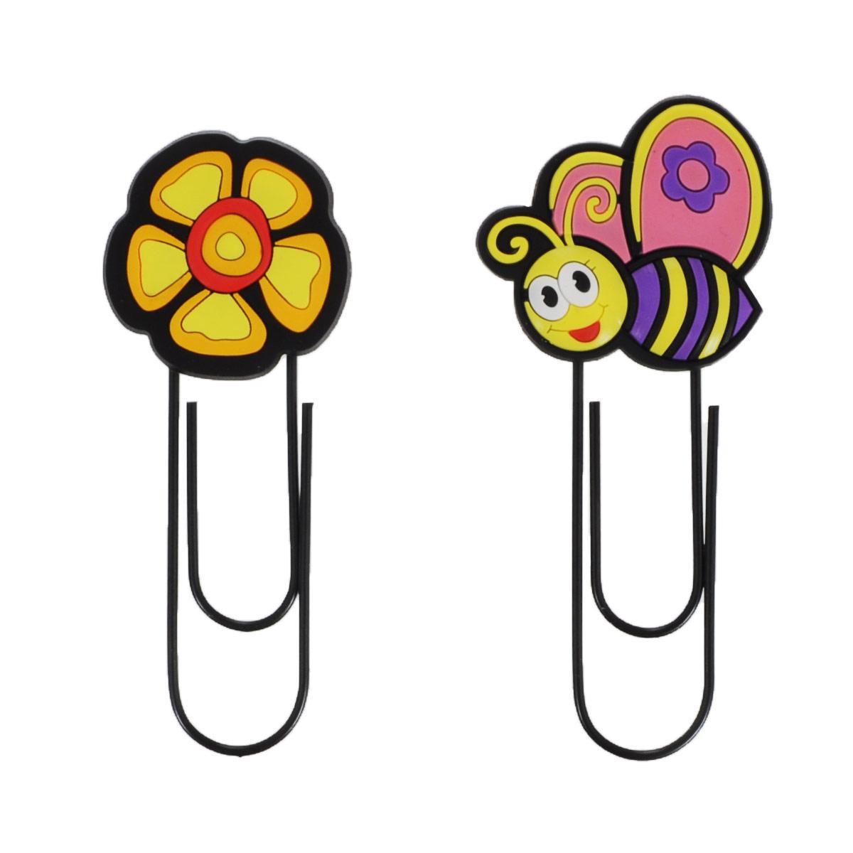 Набор скрепок-закладок Fancy Пчелка, цветок, 2 шт.C15414/ FMB1125_пчелка/цветокОригинальная закладка для книг и учебников в виде большой скрепки, украшенной забавной фигуркой, обязательно понравится вашему ребенку и не даст ему забыть, на какой странице книги он остановился. Такая закладка всегда поможет быстро найти нужную страницу и подарит хорошее настроение. В набор входят две скрепки-закладки, украшенные фигурками пчелки и цветка. Характеристики: Общая длина скрепки-закладки: 12 см. Размер пчелки:5 см х 5 см. Материал:ПВХ, металл.