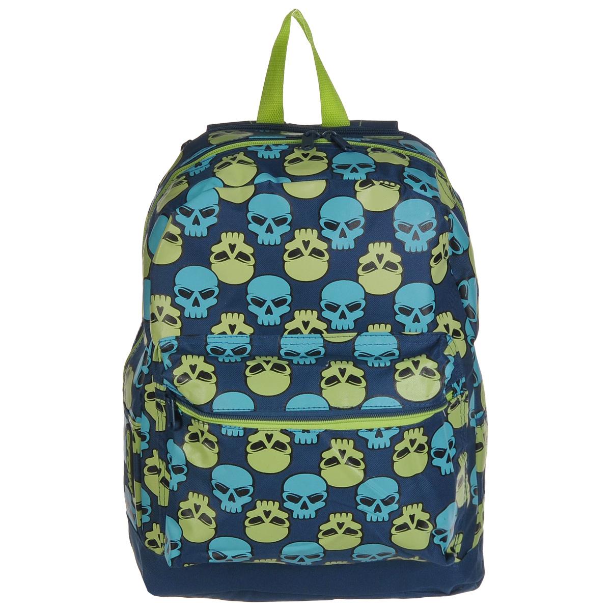 Рюкзак городской Mojo Pax Brite Skull Checker, 17 лKU9882838Городской рюкзак Mojo Pax Brite Skull Checker подходит для тех, кто привык шокировать и выделяться из толпы. Идеальный вариант для школьников и студентов.Рюкзак выполнен из плотного полиэстера с оригинальным рисунком, материал изделия устойчив к воздействию влаги и не выгорает. За счет люминесцентной краски рисунок светится в ультрафиолете и темноте.Модель очень вместительная и функциональная: в основной отсек, закрывающийся на застежку-молнию, вместятся тетрадки, учебники и другие вещи. Также имеется специальное отделение для планшета, с мягкими стенками для защиты гаджета от повреждений. Снаружи расположен карман на молнии для мелочей. Рюкзак имеет уплотненную спинку и мягкие широкие лямки регулируемой длины, а также петлю для переноски в руке.Модель имеет довольно смелый и даже вызывающий дизайн. Этот рюкзак украшают многочисленные черепа, только они - совсем не мрачные! Немного мультяшные, голубые и зеленые детали этого анатомического орнамента понравятся тем, кто ценит яркие вещи, которые удивляют и привлекают всеобщее внимание.