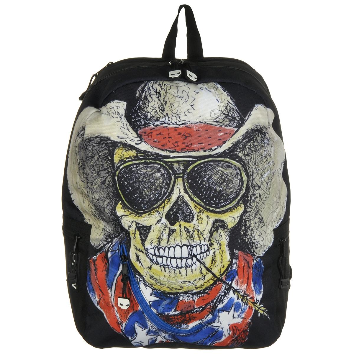 Рюкзак городской Mojo Pax Cowboy Skull, 20 лKZ9983493Городской рюкзак Mojo Pax Cowboy Skull подходит для тех, кто привык шокировать и выделяться из толпы. Идеальный вариант для школьников и студентов. Рюкзак выполнен из плотного полиэстера с оригинальным рисунком, материал изделия устойчив к воздействию влаги и не выгорает. Модель очень вместительная и функциональная: в основной отсек, закрывающийся на застежку-молнию, вместятся тетрадки, учебники и другие вещи. Также имеется специальное отделение для планшета, с мягкими стенками для защиты гаджета от повреждений. Снаружи расположено 3 кармашка на молнии для мелочей. Рюкзак имеет уплотненную спинку и мягкие широкие лямки регулируемой длины, а также петлю для переноски в руке. Смелость, независимость и чувство юмора - вот что ценит современный городской одинокий рейнджер. Даже рюкзак, в котором он носит все нужное, притягивает взгляды и вызывает восхищенную улыбку! Этот улыбающийся череп в ковбойской шляпе, солнечных очках и с колоском в зубах такой обаятельный и жизнерадостный, что даже при желании его не испугаешься. Зато в темноте принт на рюкзаке меняется до неузнаваемости. Фосфоресцирующим светом начинает светиться только череп и надпись на стеклах его очков. Эту сумку уж точно запомнят все, кто ее увидит!