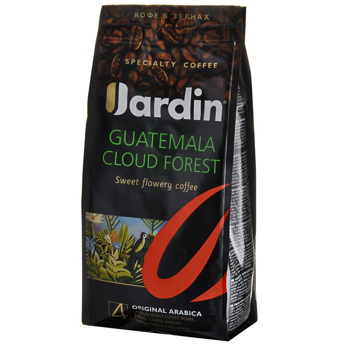 Jardin Guatemala Cloud Forest кофе в зернах, 250 г0566-15Зерновой кофе Jardin Guatemala Cloud Forest отличается своеобразным вкусом - плотным, с тонкой кислинкой и нотами черной смородины, а также долгим послевкусием. Этот сорт кофе выращивают в Гватемале на плодородных почвах вулканического происхождения, во влажном климате субтропических лесов.