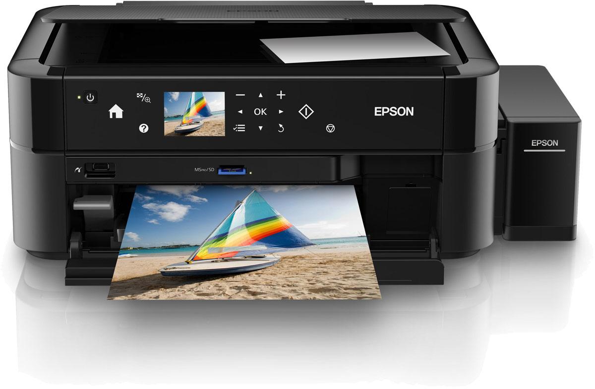 Epson L850 6-цветное МФУC11CE314026-ти цветный фотоцентр с чернильными емкостями вместо картриджей, обеспечивающими высокий ресурс расходных материаловКомпания Epson представляет идеальное устройство для энтузиастов цифровой фотографии. Первый в своем роде фотоцентр «три в одном» серии «Фабрика печати Epson» - Epson L850, который позволяет достигать исключительного качества фотопечати. Epson L850 - это уникальный фотоцентр со встроенными емкостями для чернил, вместо картриджей, специально созданный для тех, кому необходимо универсальное устройство способное сканировать, копировать и печатать фотографии высочайшего качества с рекордно низкой себестоимостью.Приобретая Epson L850, вы становитесь не только обладателем уникального устройства с высоким ресурсом печати фотографий, но и получаете возможность печатать фотографии напрямую без использования компьютера. Вставьте карту памяти в специальный слот или подсоедините вашу фотокамеру по Pictbridge и выбирайте, редактируйте, и печатайте понравившиеся вам снимки, используя ЖК-экран и сенсорную панель управления. Или вы можете запустить на печать все снимки сразу, а затем отобрать лучшие, ведь с уникальной системой бескартиджной печати об экономии чернил вам можно забыть.Струйная печать без картриджейОсобенность всех устройств Фабрики печати Epson - это печать без картриджей. Таким образом конструкция Epson L850 предусматривает встроенные емкости для чернил. Оригинальные чернила Epson заправляются во встроенные емкости из контейнеров по 70 мл. Уникальное строение емкостей гарантирует высокое качество печати и надежность работы устройства даже без использования картриджей.Высокий ресурс расходных материаловРасходными материалами к Epson L850 служат контейнеры с чернилами высоким ресурсом. Так шести контейнеров с голубыми, пурпурными, желтыми, светло-голубыми, светло-пурпурными и черными чернилами хватит на печать 1800 цветных фотографий формата 10?15.Сканирование и копированиеБлагодаря тому что устройство соединяет в себе 