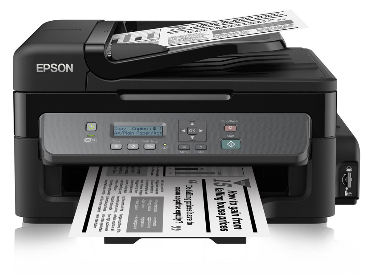 Epson M205 МФУC11CD07401Монохромный Принтер-сканер-копир с рекордно низкой себестоимостью печати и подключением по Wi-FiEpson М205 - это высокоскоростное струйное монохромное МФУ большими емкостями для чернил объемом 140 мл, автоподатчиком для сканирования документов емкостью на 30 листов и возможностью беспроводного подключения по Wi-Fi. Благодаря использованию чернильных емкостей вместо картриджей данное устройство дает возможность печатать документы с рекордно низкой себестоимость, а за счет печати пигментными чернилами отпечатки мгновенно высыхают их качество не уступает отпечаткам сделанным на лазерном принтере.Рекордно низкая себестоимость печатиБлагодаря большим емкостям и контейнерам с пигментными чернилами по 140 мл вы сможете напечатать большой объем документов по рекордно низкой цене: всего 15 копеек за отпечаток формата А4Высокий ресурс расходных материаловРасходными материалами к Монохромной Фабрике печати служат контейнеры с чернилами высоким ресурсом. Так одного контейнера с черными чернилами хватит печать 6000 ч/б документов А4 Два контейнера с чернилами по 140 мл в комплекте.В комплекте с устройством идет два контейнера с черными пигментными чернилами емкостью по 140 мл. каждый. Благодаря этому приобретая новое устройство, вы можете распечатать до 11 000 отпечатков уже со стартового комплекта чернил, что, позволит вам сэкономить, в 2 раза по сравнению с приобретением лазерного принтера.Высокое качество печати и надежностьБлагодаря уникальной технологии печати Epson Micro Piezo и точному контролю давления в емкостях с чернилами вы всегда получаете отпечатки превосходного качества. Специально разработанные материалы, на основе которых изготовлены компоненты устройства, обеспечивают долгий срок службы принтера и работу без поломок.Высокая скорость печатиДополнительным преимуществом Epson M205 является высокая скорость печати: до 15 стр./мин. в режиме лазерного качества печати и до 34 стр./мин. в режиме черновика, Что позволит сэкономить вам время, кото