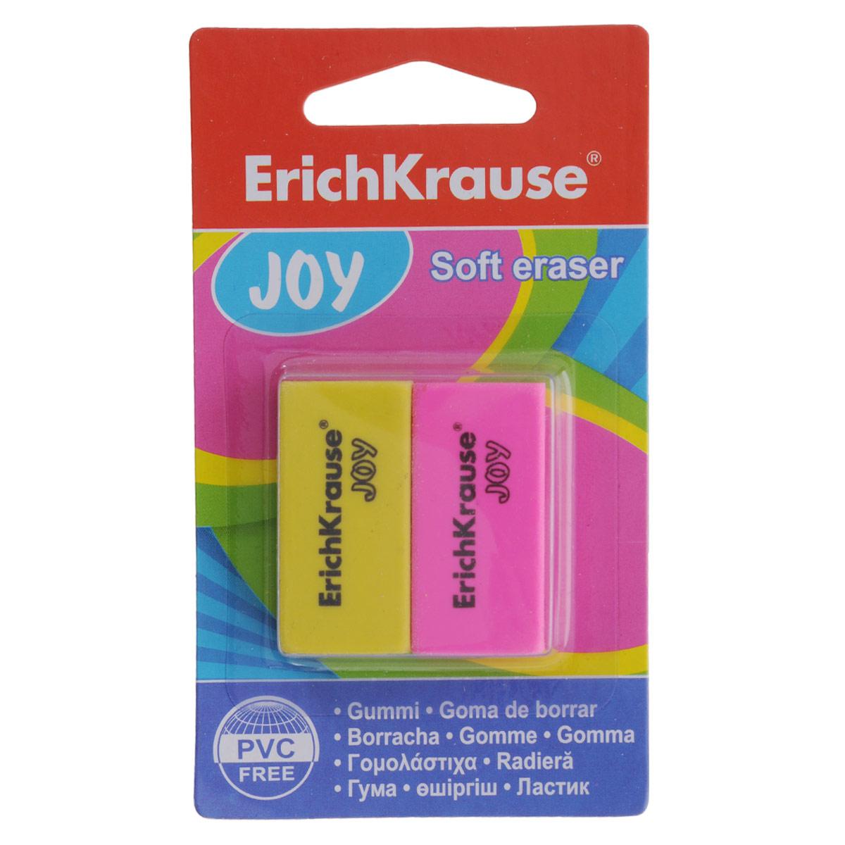 Набор ластиков Erich Krause Joy, цвет: желтый, розовый, 2 шт34650Ластики Erich Krause Joy предназначены для качественного удаления линий чернографитных и цветных карандашей. Обеспечивают высокое качество коррекции, не повреждая поверхность бумаги, не оставляя следов. В наборе 2 ластика желтого и розового цветов.