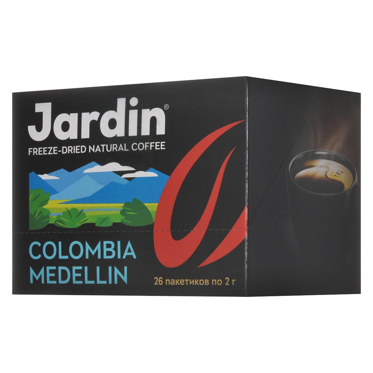 Jardin Colombia Medellin растворимый кофе в пакетиках, 26 шт0861-16Растворимый кофе в пакетиках Jardin Colombia Medellin обладает крепким, насыщенным, интенсивным ароматом. Вкус арабики из колумбийского региона Меделлин особо ценится за сочетание цветочных и шоколадных нот.А всего одна ложка сахара добавит вкусу новые карамельные ноты крем-брюле.