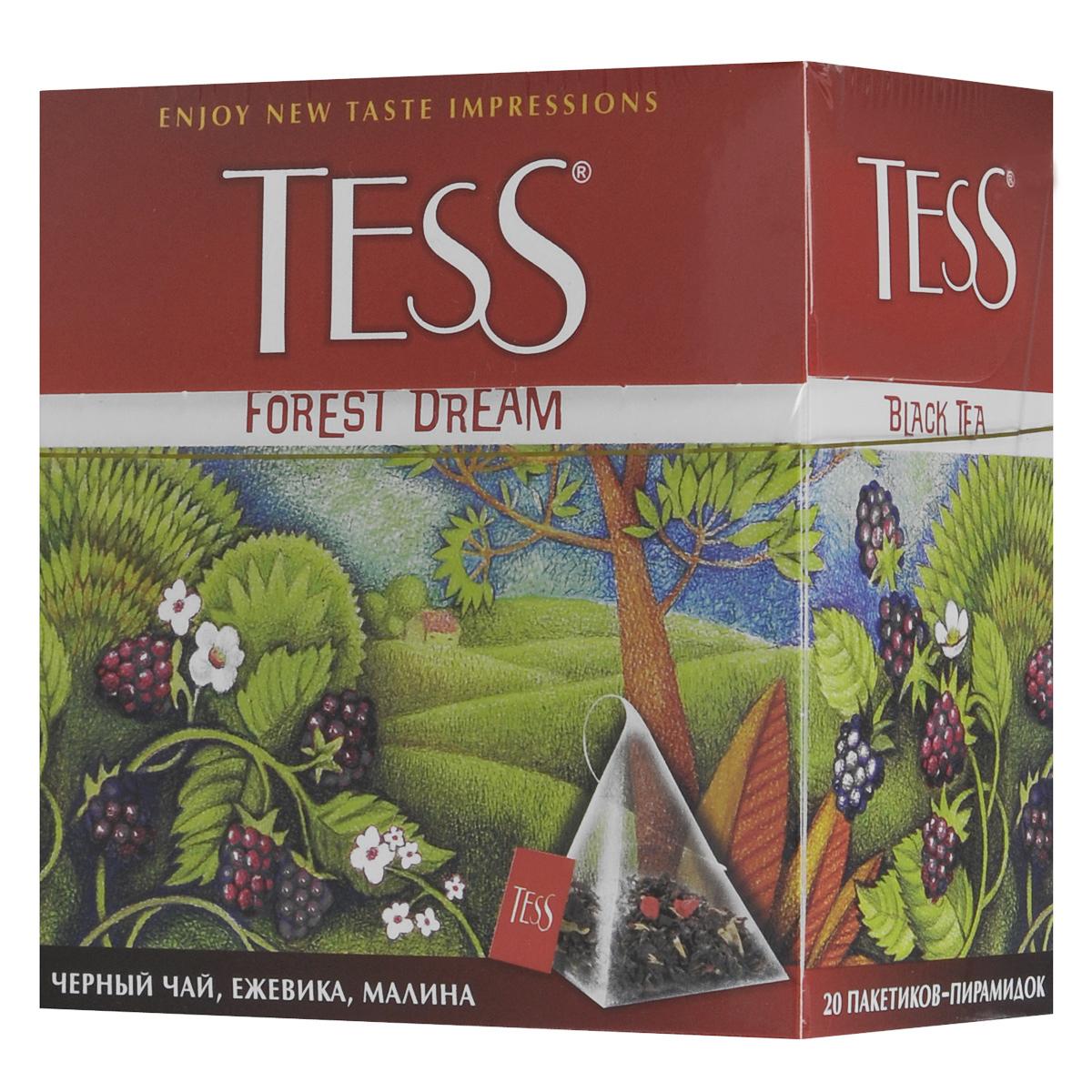 Tess Forest Dream черный чай в пирамидках, 20 шт0784-12Чудесная композиция благородного цейлонского чая Tess Forest Dream в пирамидках с кусочками ежевики и малины открывает новый великолепный вкус, в котором слышится благоухание ягодной опушки, согретой июльским солнцем.