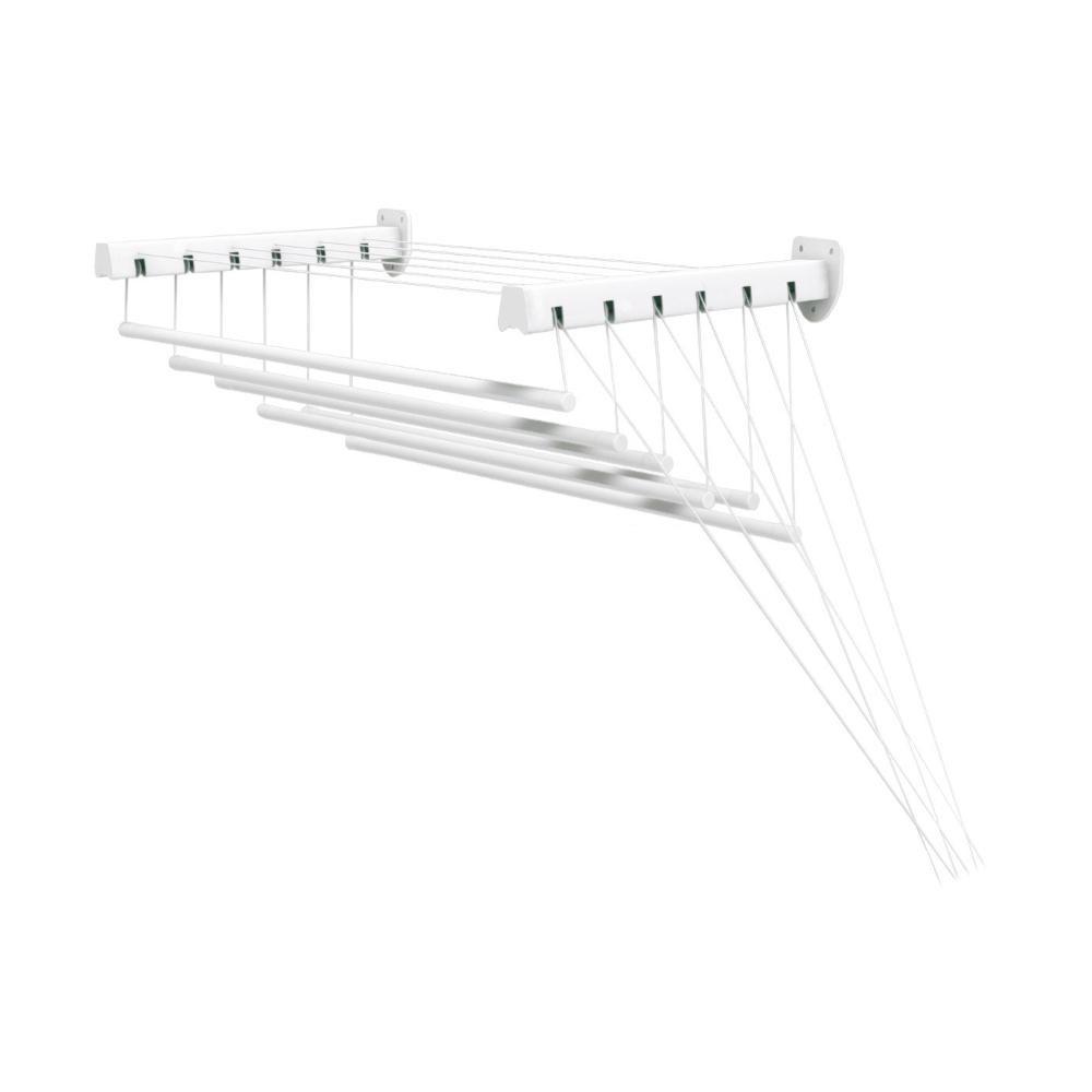 Сушилка для белья Gimi Lift 160, настенно-потолочная10460163Сушилка Gimi Lift 160 представляет собой пластиковые стержни, закрепленныепри помощи направляющих шнуров на стальных кронштейнах, которые в своюочередь крепятся на стену или потолок. Специальный механизм (пластиковыеролики) обеспечивает подъем и опускание стержней, что значительно облегчаетпроцесс развешивания белья. Стержни сушилки, на которые развешивается белье,устанавливаются до нужного для вас уровня, в зависимости от вашего роста. Сушилку можно установить в любом удобном для вас месте квартиры или балкона.Общая длина стержней: 9,5 м. Длина одного стержня: 1,6 м. Диаметр стержня: 1,2 см. Максимальный вес (белья): 15 кг. Длина кронштейна: 43 см. Максимальное расстояние от кронштейна до опущенного стержня: 1,35 м.