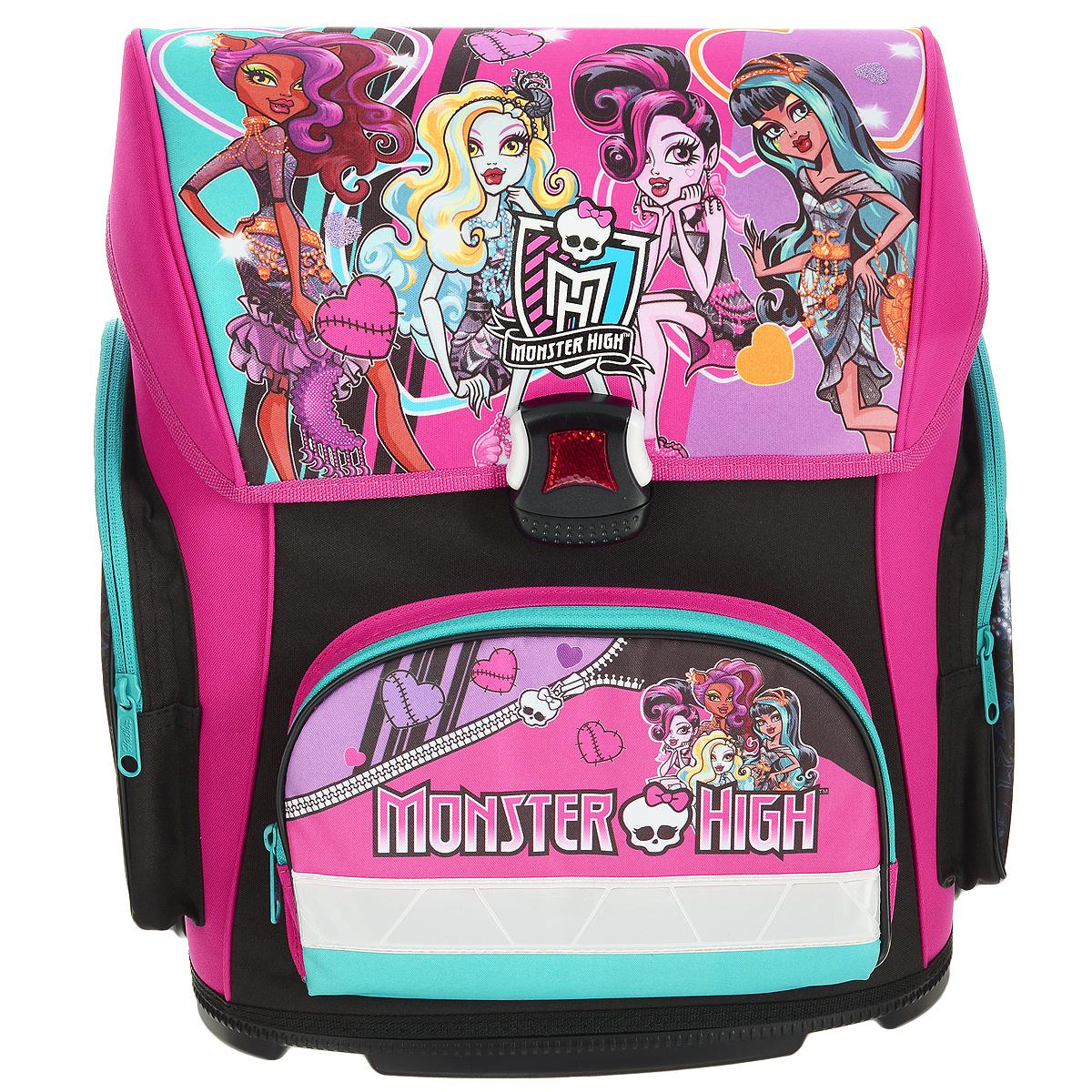 Ранец школьный Hatber Monster High, модель Optimum, цвет: черный, розовыйNRk_20629Ранец школьный Hatber Monster High выполнен из водонепроницаемого, морозоустойчивого, устойчивого к солнечному излучению материала. Изделие оформлено изображениями героев мультфильма Школа монстров. Ранец содержит одно вместительное отделение, закрывающееся клапаном на пластиковый замок-защелку, который является морозоустойчивым, отличается долгим сроком службы. Внутри отделения имеется одна перегородка для тетрадей, учебников, маленький карман-косметичка на пластиковой молнии и накладной пластиковый кармашек, предназначенный для расписания уроков (имеется вкладыш для заполнения). Верхний клапан полностью откидывается, что существенно облегчает пользование ранцем. Ранец имеет два боковых кармана, закрывающихся на молнии и один карман на молнии на лицевой стороне. Ранец оснащен ручкой с резиновой насадкой для удобной переноски. Специальная жесткая конструкция спинки ранца оптимально распределяет нагрузку на позвоночник ребенка, способствуя формированию правильной осанки. В нижней части спинки расположен поясничный валик, на который, при правильном ношении, приходится основная нагрузка. Для удобства и комфорта, спинка и лямки ранца дополнены эргономичными подушечками, противоскользящей сеточкой с вентиляционными отверстиями. S-образная форма лямок обеспечивает более плотную фиксацию ранца, предотвращая перенапряжение мышц. Мягкие анатомические лямки позволяют легко и быстро отрегулировать ранец в соответствии с ростом ребенка. Дно ранца выполнено из пластика высокого качества, оно не деформируется, обеспечивает ранцу хорошую устойчивость и легко очищается от загрязнений.Светоотражающие элементы на лицевой и боковой стороне, а также на лямках рюкзака обеспечивают дополнительную безопасность в темное время суток.
