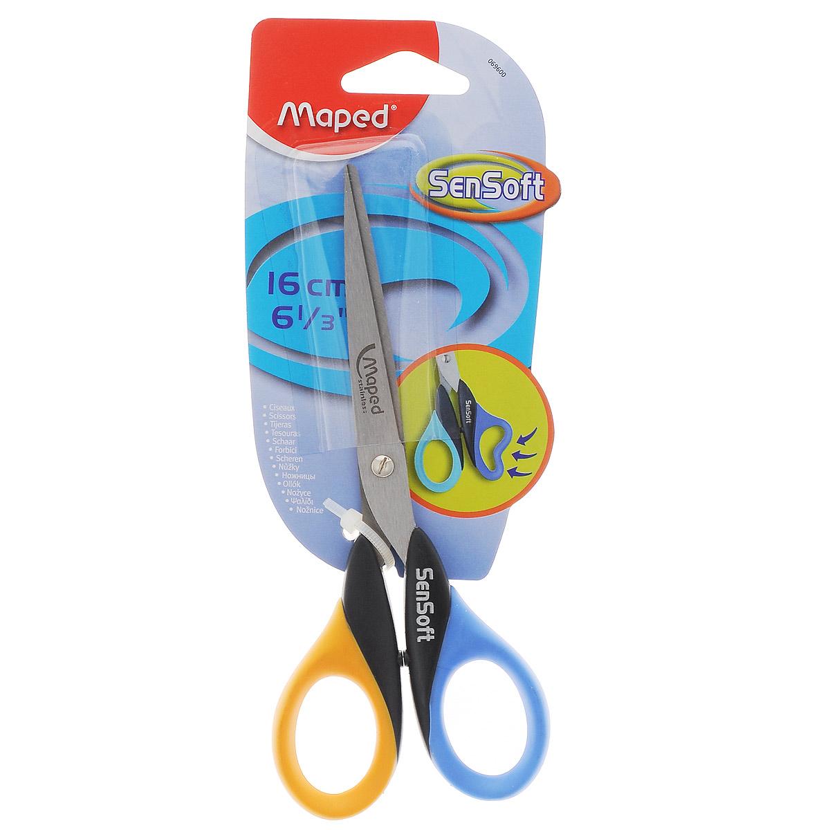 Maped Ножницы Sensoft цвет синий желтый 16 см69600_синий, желтыйЛезвия ножниц Sensoft выполнены из шлифованной нержавеющей стали и отлично режут бумагу, картон, ткань, клеенку. Гнущиеся гибкие кольца ножниц делают резку абсолютно комфортной.Рекомендовано детям старше пяти лет.