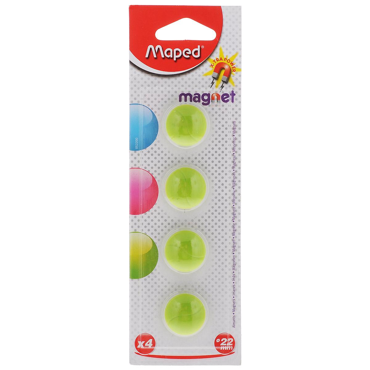 Набор магнитов Maped, цвет: зеленый, 22 мм, 4 шт231730Магниты синего цвета Maped не позволят потерять важную идею при проведении семинаров, мозговых штурмов или презентаций. Выпуклая форма и маленький диаметр делают их удобными при работе с картами или планингами. Они помогут надежно прикрепить листы бумаги на любой железной или стальной поверхности.В наборе 4 магнита зеленого цвета.Рекомендовано детям старше трех лет.