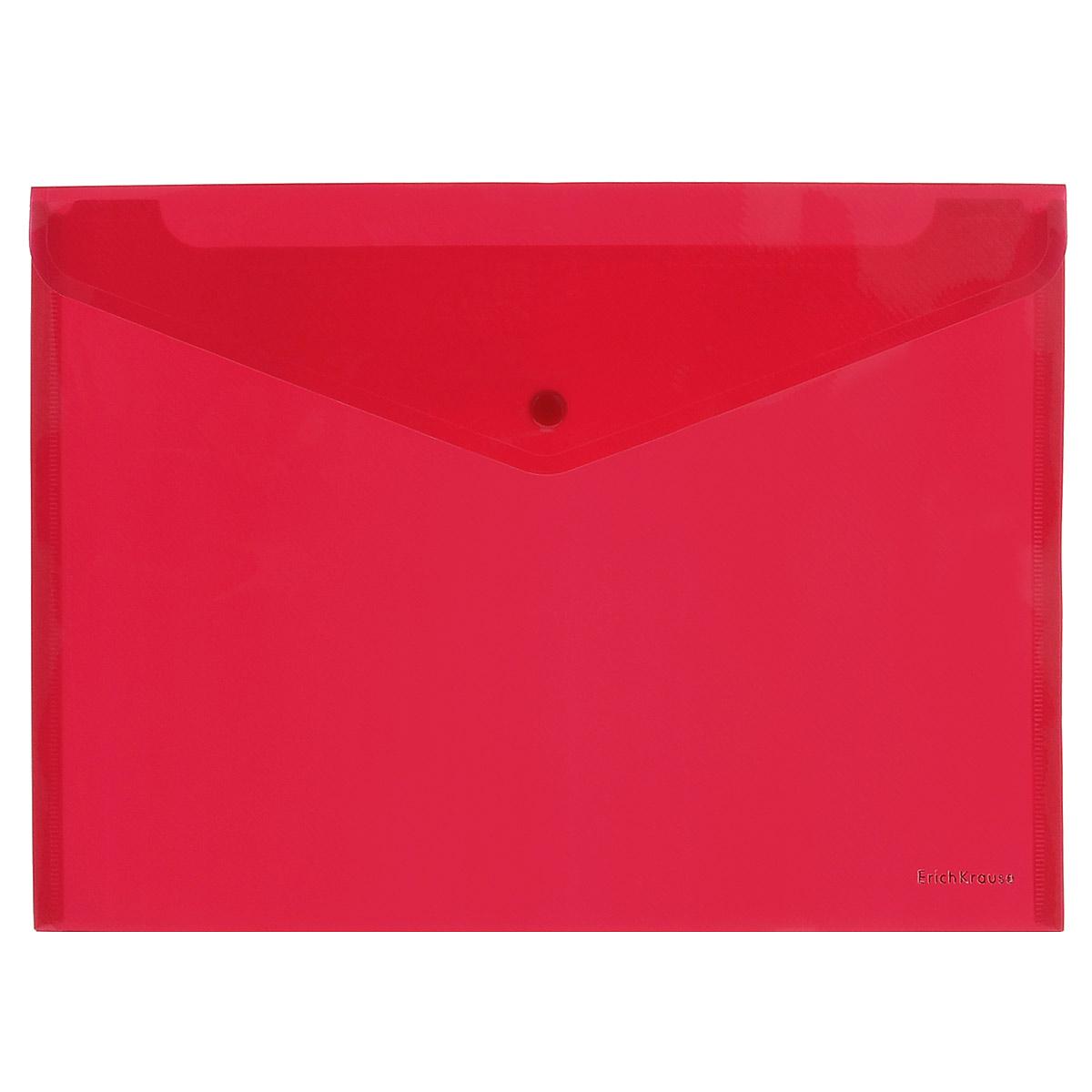 Erich Krause Папка-конверт Envelope Folder цвет красный2932_красныйПапка-конверт на кнопке Erich Krause - удобный и практичный офисный инструмент, предназначенный для хранения и транспортировки рабочих бумаг и документов формата А4.Папка изготовлена из полупрозрачного глянцевого пластика красного цвета с диагональной текстурой, которая надолго сохраняет папку аккуратной и увеличивает срок ее службы. Практичная застежка-кнопка удобна для частого использования и обеспечивает быстрый доступ к документам. С такой папкой ваши документы всегда будут в полном порядке!