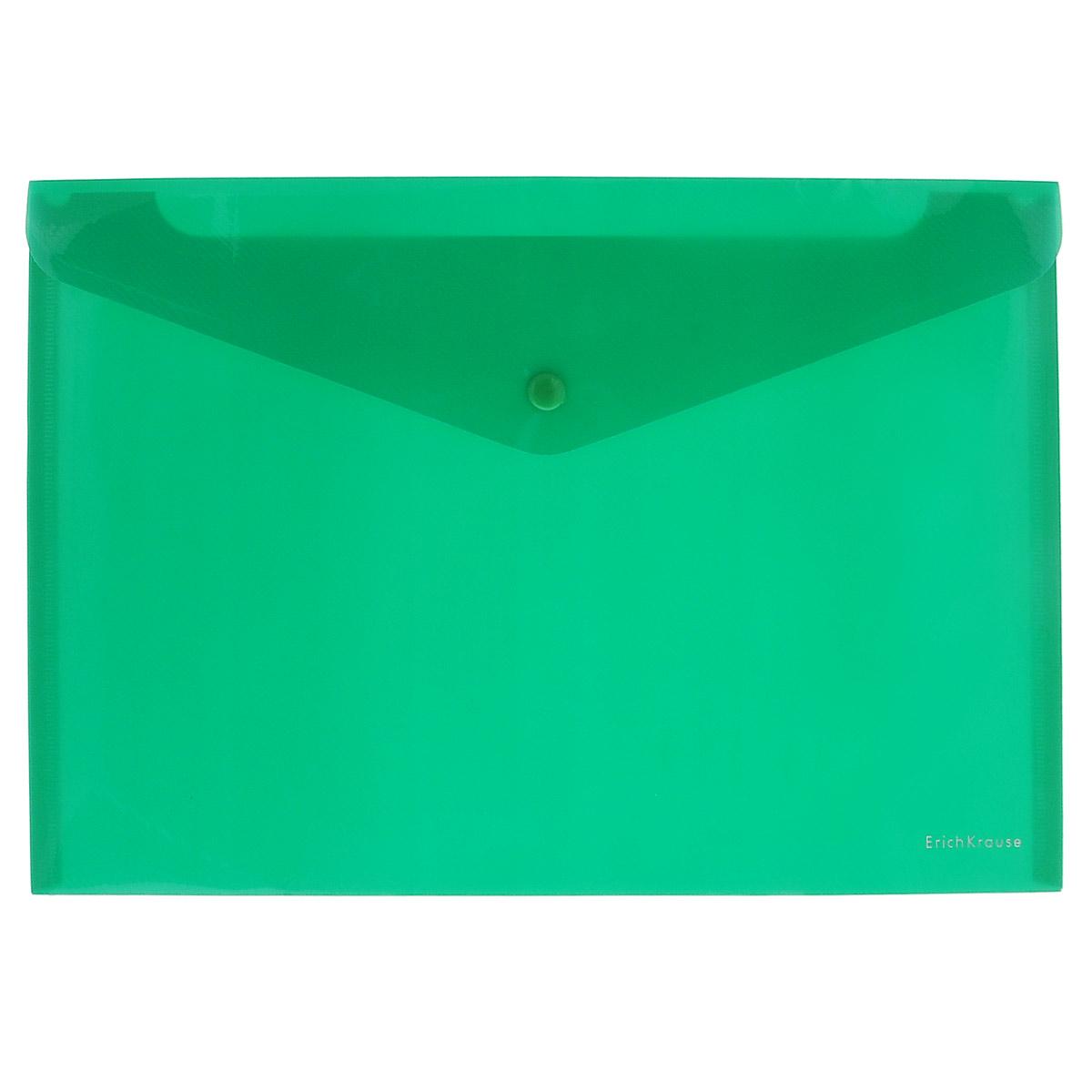 Erich Krause Папка-конверт на кнопке Envelope Folder цвет зеленый2932_зеленыйПапка-конверт на кнопке Erich Krause Envelope Folder - удобный и практичный офисный инструмент, предназначенный для хранения и транспортировки рабочих бумаг и документов формата А4. Папка изготовлена из полупрозрачного глянцевого пластика с диагональной текстурой, которая надолго сохраняет папку аккуратной и увеличивает срок ее службы. Практичная застежка-кнопка удобна для частого использования и обеспечивает быстрый доступ к документам. С такой папкой ваши документы всегда будут в полном порядке!