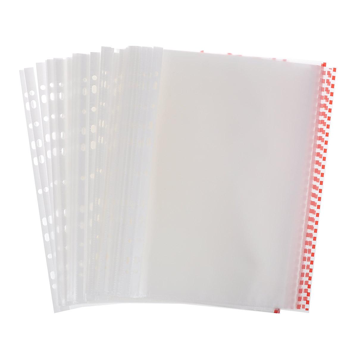 Файл-вкладыш  Erich Krause , с перфорацией, цвет: прозрачный, красный, формат А4, 100 шт -  Файлы и разделители