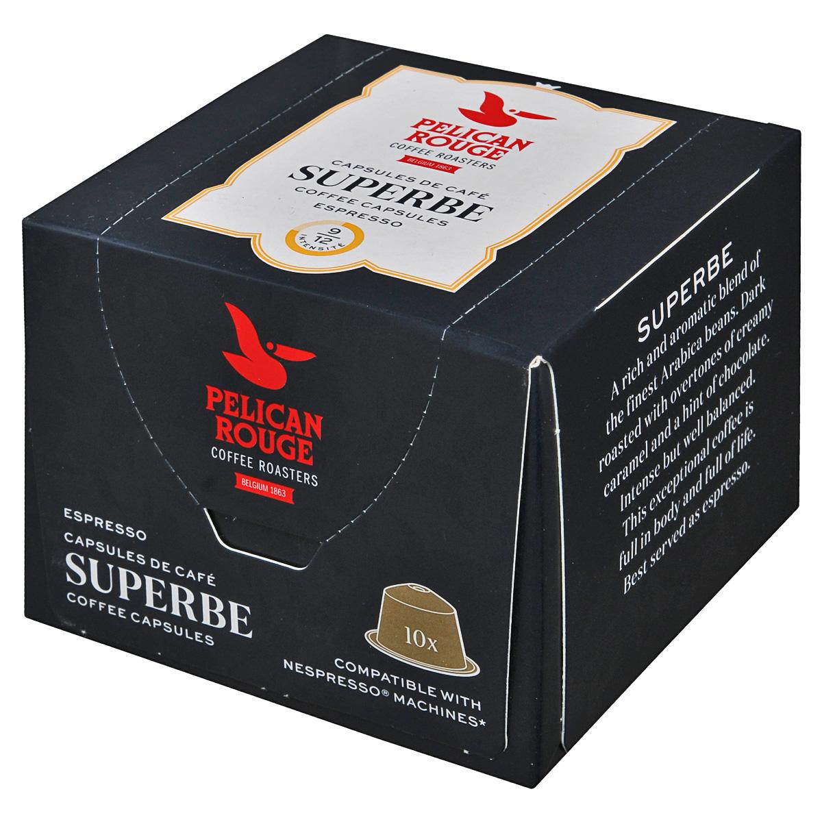 Pelican Rouge Superbe кофе в капсулах, 10 шт5410958482608Pelican Rouge Superbe - темно-обжаренный кофе с обертонами сливочной карамели и намеком на шоколад. Интенсивный, но хорошо сбалансированный кофе.