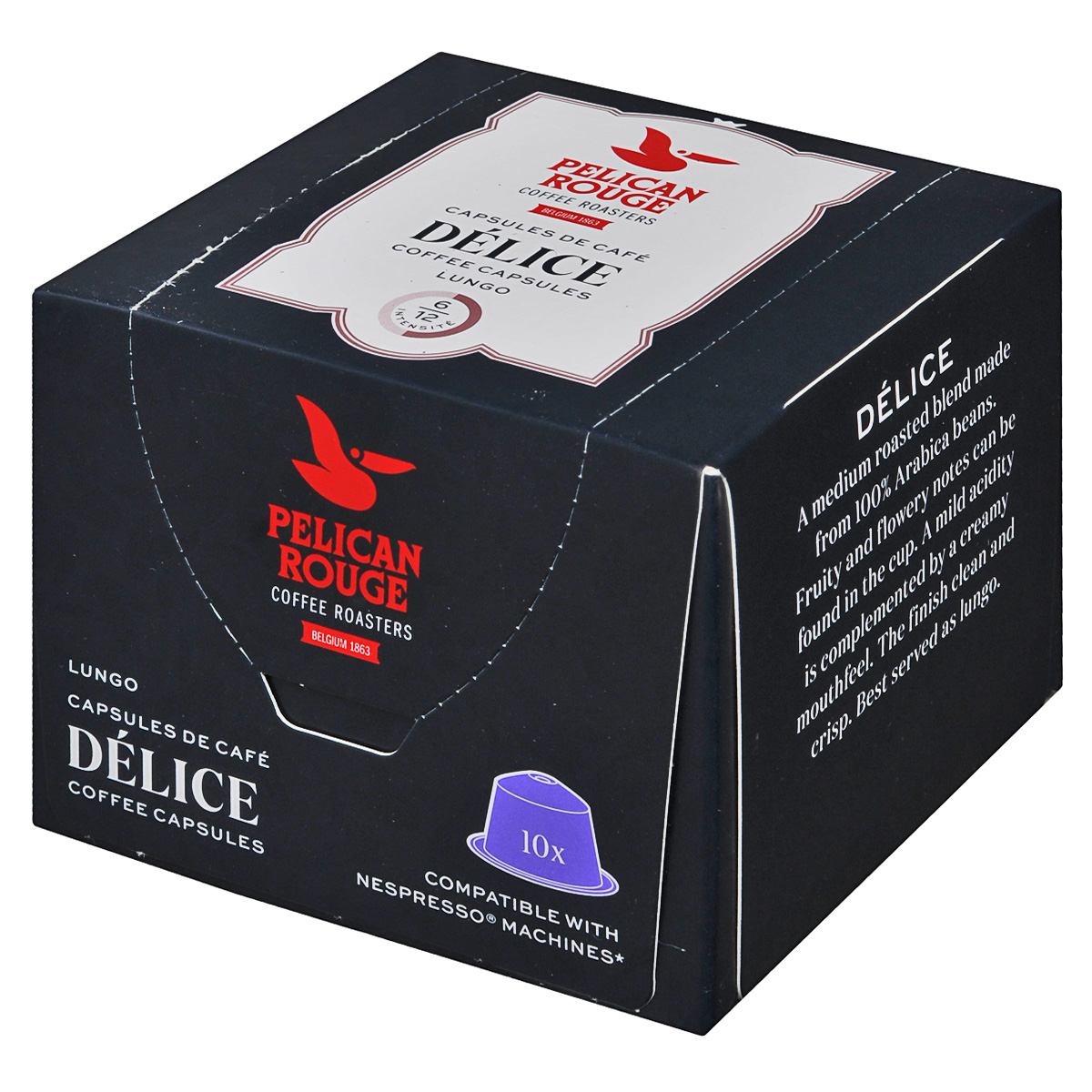Pelican Rouge Delice кофе в капсулах, 10 шт5410958482004Кофе в капсулах Pelican Rouge Delice имеет утонченный вкус с оттенками карамели. Кофе средней обжарки характеризуется акцентом на фруктовый вкус с легкой кислинкой.Кофе: мифы и факты. Статья OZON Гид