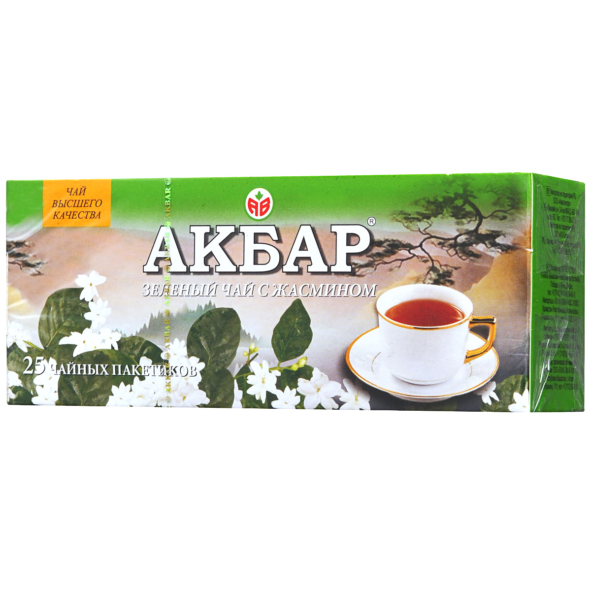 Akbar зеленый ароматизированный чай с жасмином в пакетиках, 25 шт1041038Зеленый китайский чай Akbar с жасмином – отличное средство для снятия стрессов после напряженной работы и больших нервных и физических перегрузок. Бодрящие, придающие жизненные силы свойства этого чая особенно ярко ощущаются в послеобеденной чашке этого напитка.Зеленый чай Akbar с жасмином - один из наиболее популярных в мире ароматизированных чаев. Впервые он появился в III веке нашей эры в Китае, где существует множество рецептов приготовления этого напитка. Тонкий и мягкий аромат жасмина гармонично переплетается со свежестью настоящего зеленого чая, оттеняя, но не заглушая его естественный восхитительный вкус.