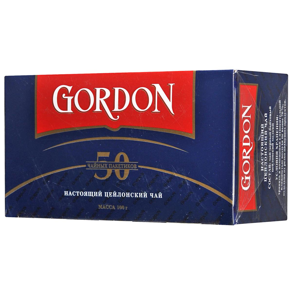 Gordon черный чай в пакетиках, 50 шт1060069Цейлонский черный чай Gordon в пакетиках порадует вас своим мягким вкусом и нежным ароматом.