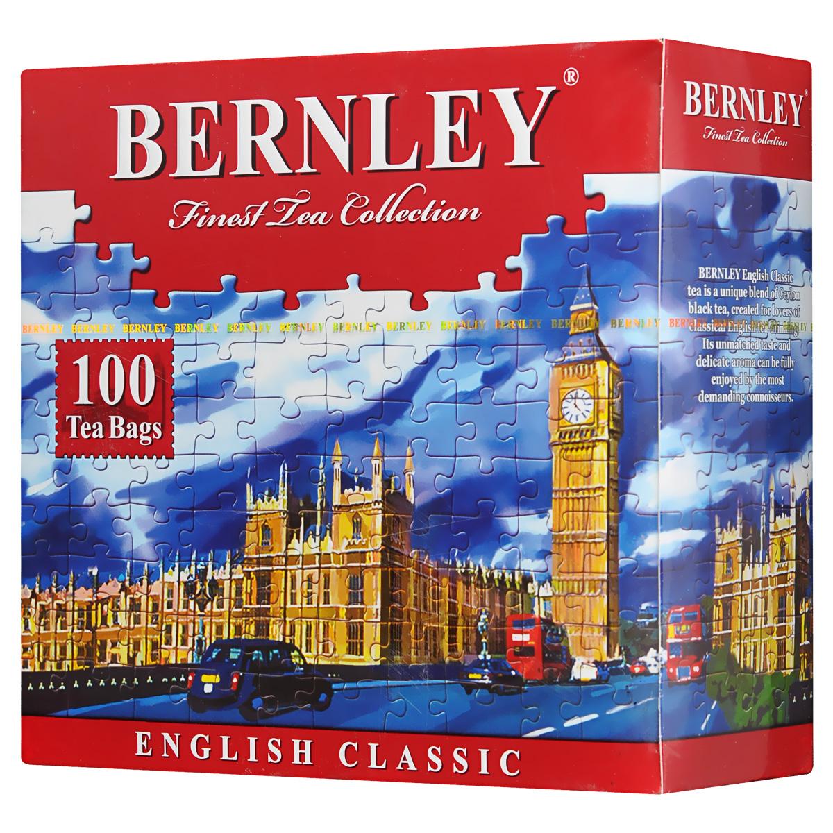 Bernley English Classic черный чай в пакетиках, 100 шт1070010Bernley English Classic - традиционный черный чай, созданный по классическому английскому рецепту, с густым, насыщенного цвета настоем и тонким ароматом, присущим лишь лучшим сортам цейлонского чая. Вкус терпкий, сбалансированный, с утонченными оригинальными оттенками.