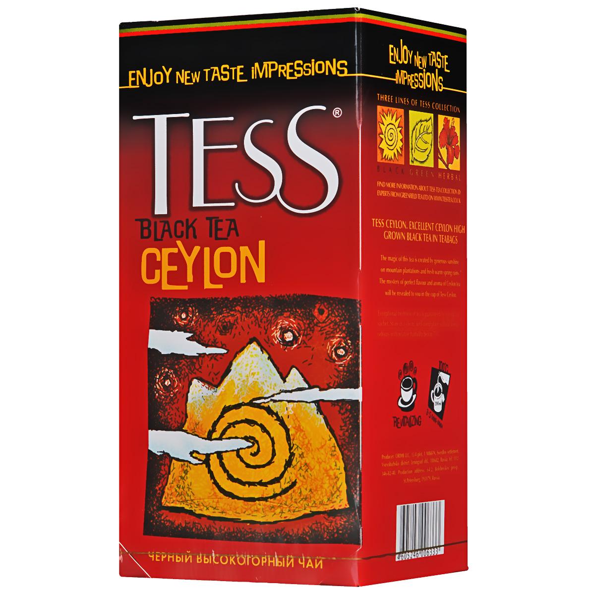 Tess Ceylon черный чай в пакетиках, 25 шт0633-10Черный цейлонский чай в пакетиках Tess Ceylon, выращенный на высокогорных плантациях, отличается насыщенным, ярким вкусом и тонким природным ароматом, свойственным высокогорным чаям. Отличительная особенность высокогорных чаев в том, что они обладают более светлым настоем, чем собранные на равнине, хотя по крепости порой даже превосходят их.
