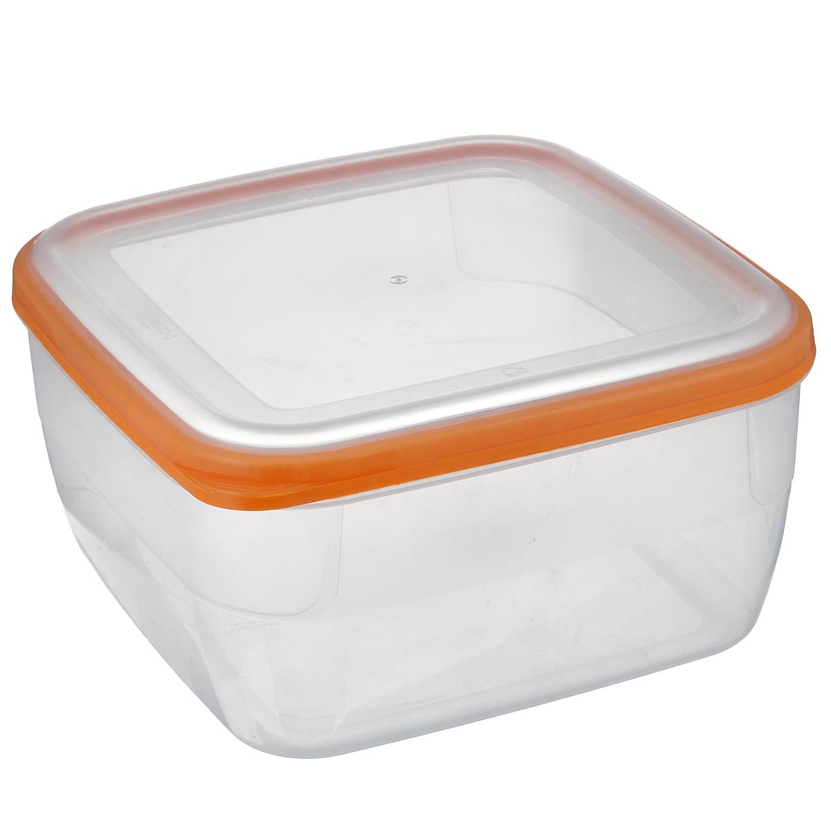 Контейнер Полимербыт Премиум, цвет: прозрачный, оранжевый, 3 лС568 оранжевыйКонтейнер Полимербыт Премиум квадратной формы, изготовленный из прочного пластика, предназначен специально для хранения пищевых продуктов. Крышка легко открывается и плотно закрывается.Стенки контейнера прозрачные - хорошо видно, что внутри. Контейнер устойчив к воздействию масел и жиров, легко моется. Прозрачные стенки позволяют видеть содержимое. Контейнер имеет возможность хранения продуктов глубокой заморозки, обладает высокой прочностью. Подходит для использования в микроволновых печах. Можно мыть в посудомоечной машине.