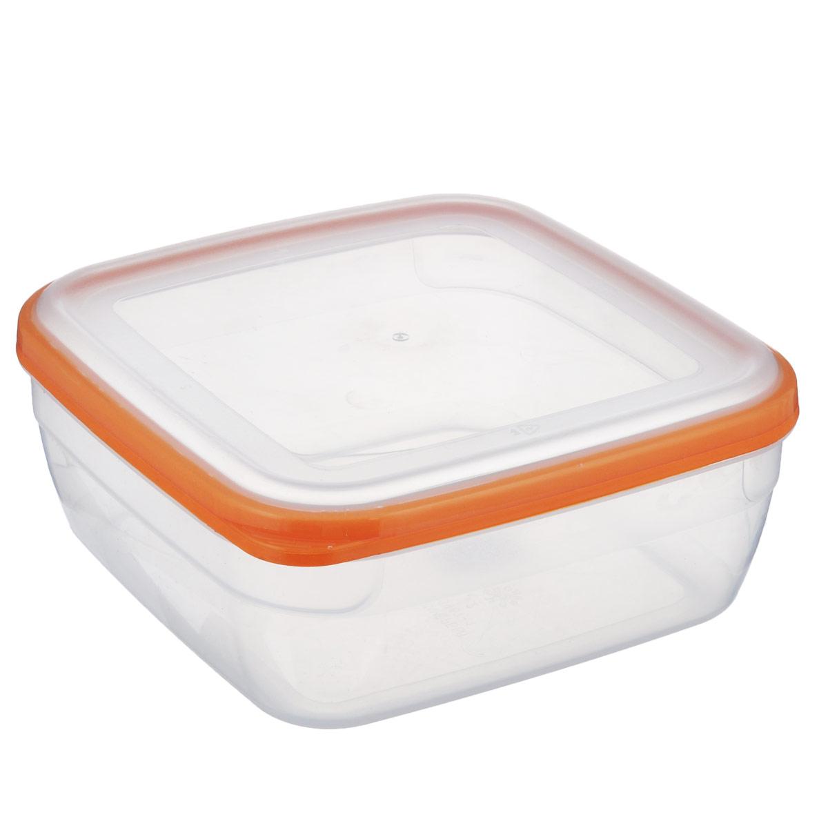 Контейнер Полимербыт Премиум, цвет: прозрачный, оранжевый, 2,2 л контейнер полимербыт каскад цвет прозрачный сиреневый 1 л