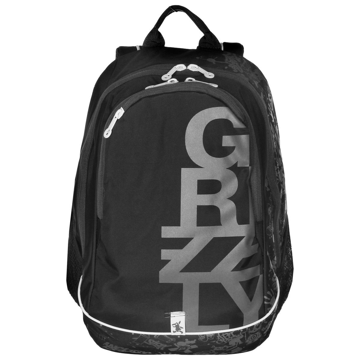 Рюкзак городской Grizzly, цвет: черный, серый, 29 л. RU-400-1/2RU-400-1/2Рюкзак Grizzly - это оригинальный молодежный рюкзак со стильным принтом и множеством удобных отделений. Верх изделия выполнен из нейлона, внутренняя поверхность отделана полиэстером зеленого цвета. Рюкзак имеет два отделения, которые закрываются на застежку-молнию. Внутри первого отделения содержится вшитый карман на молнии и пластиковый карман для визитки, внутри второго - сетчатый карман на молнии и 3 открытых кармашка. Модель имеет жесткую рельефную спинку с мягкими вставками и анатомическими лямками. На передней стенке содержится карман на молнии, по бокам расположено 2 сетчатых кармана. Такой рюкзак подчеркнет ваш стиль и поможет выделиться из толпы.