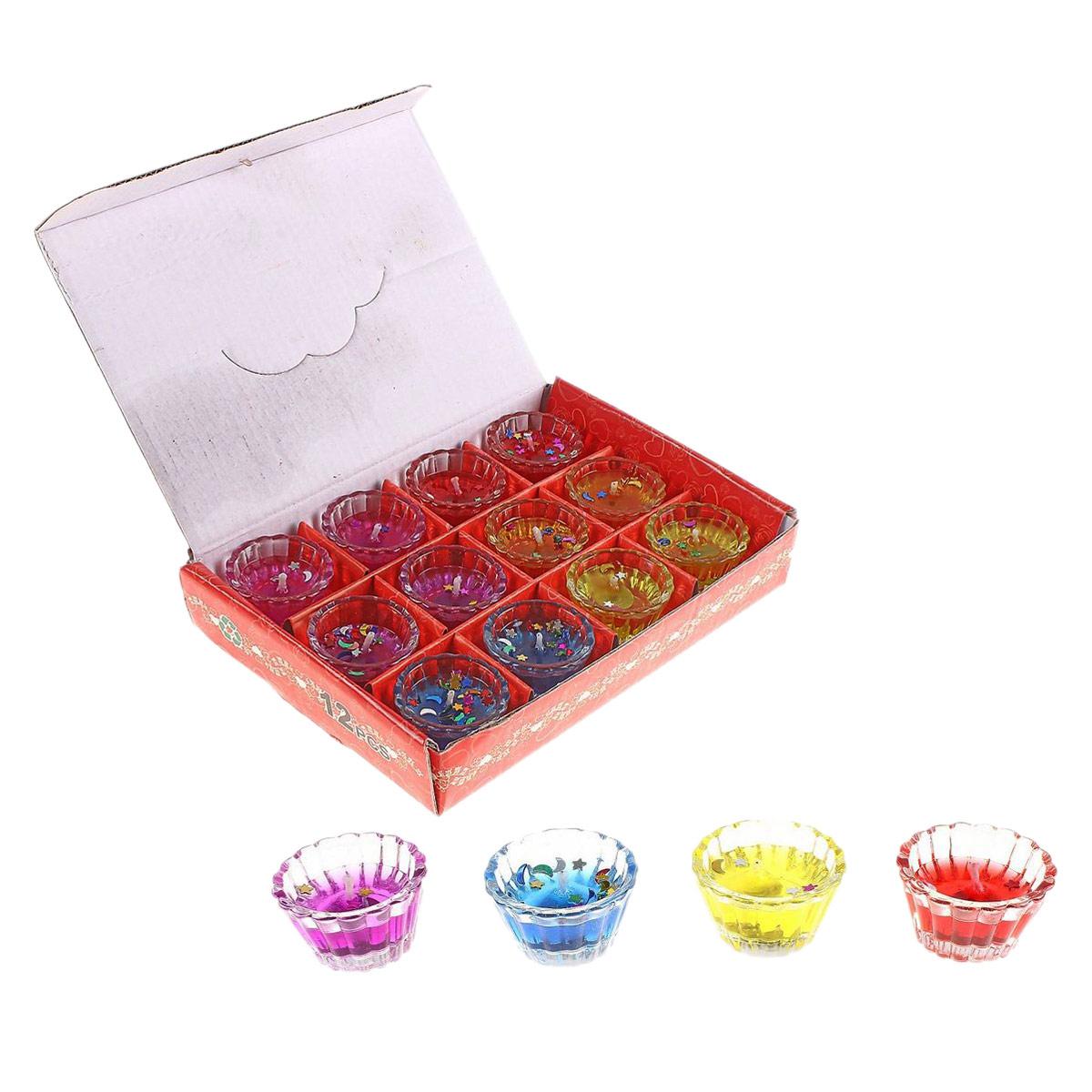 Набор декоративных свечей Sima-land Столбик, 12 шт649108Набор Sima-land Столбик, выполненный из геля, состоит из 12 декоративных свечей.Свечи расположены в небольших стеклянных стаканчиках. Изделия оформлены блестящими звездочками. Такой набор может стать отличным подарком или дополнить интерьер вашей комнаты.